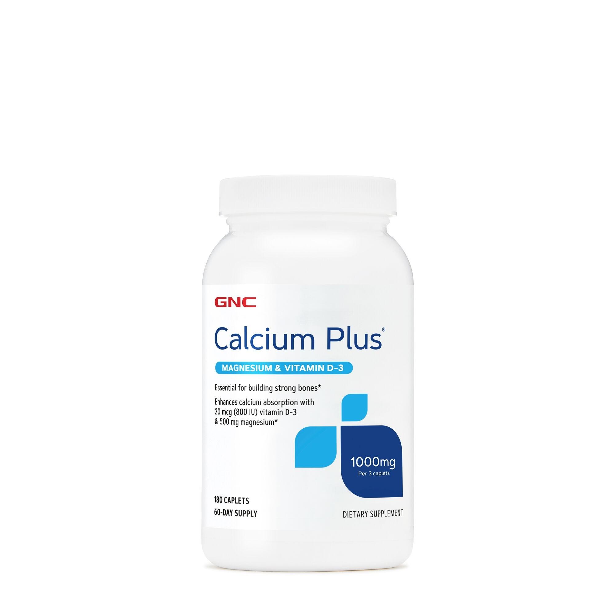 GNC Calcium Plus® Magnesium & Vitamin D-3 1000 mg, Calciu cu Magneziu si Vitamina D-3, 180 tb