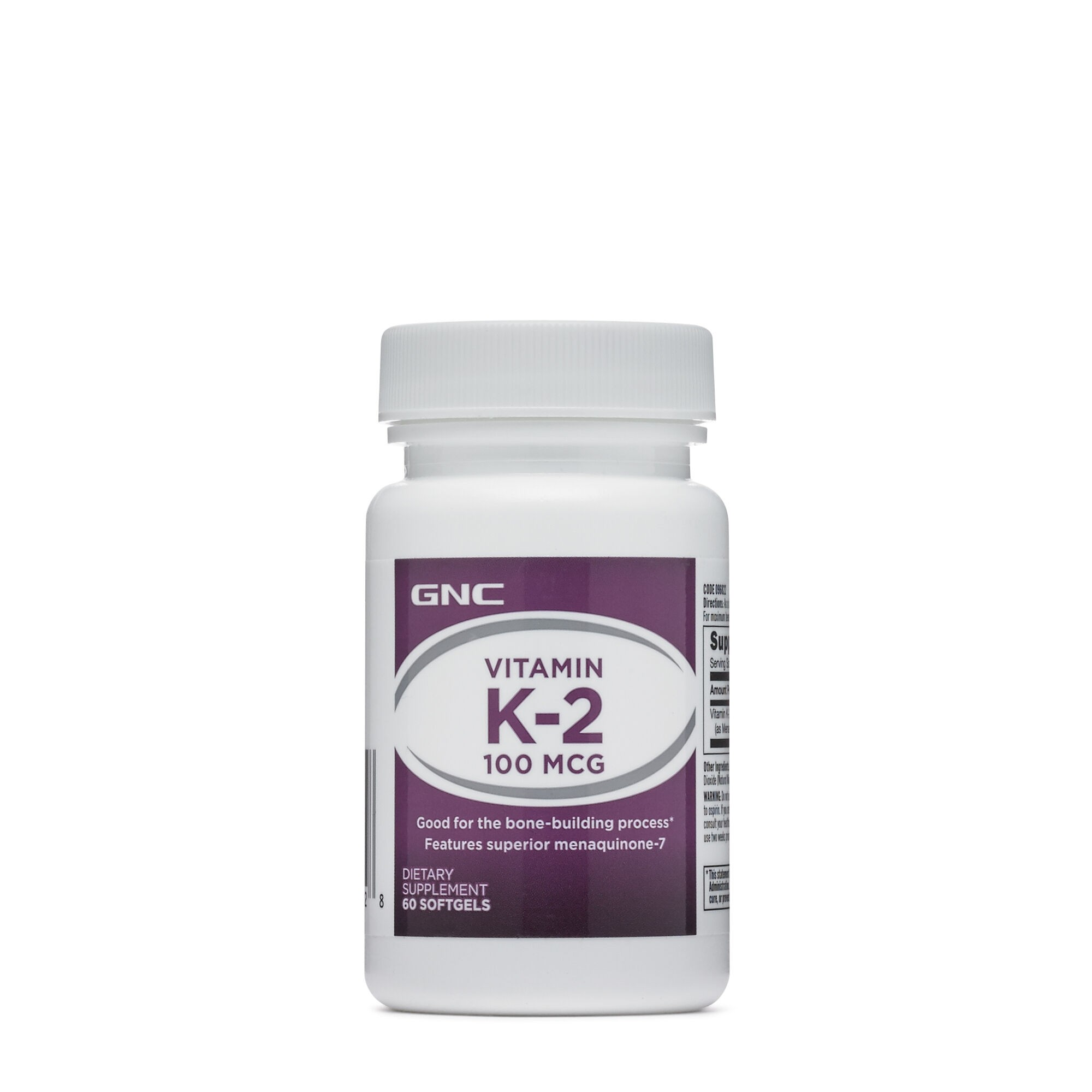GNC Vitamin MK-7 K-2-100 mcg, Vitamina K 2, 60 cps