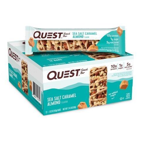 Quest® Snack Bar, Baton Proteic cu Aroma de Sare de Mare, Caramel si Migdale, 43 g