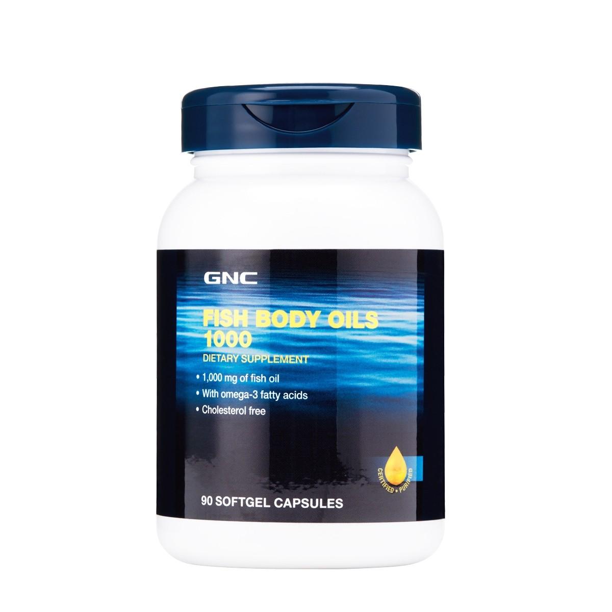GNC Fish Body Oils, Ulei de Peste 1000 mg, 90 cps