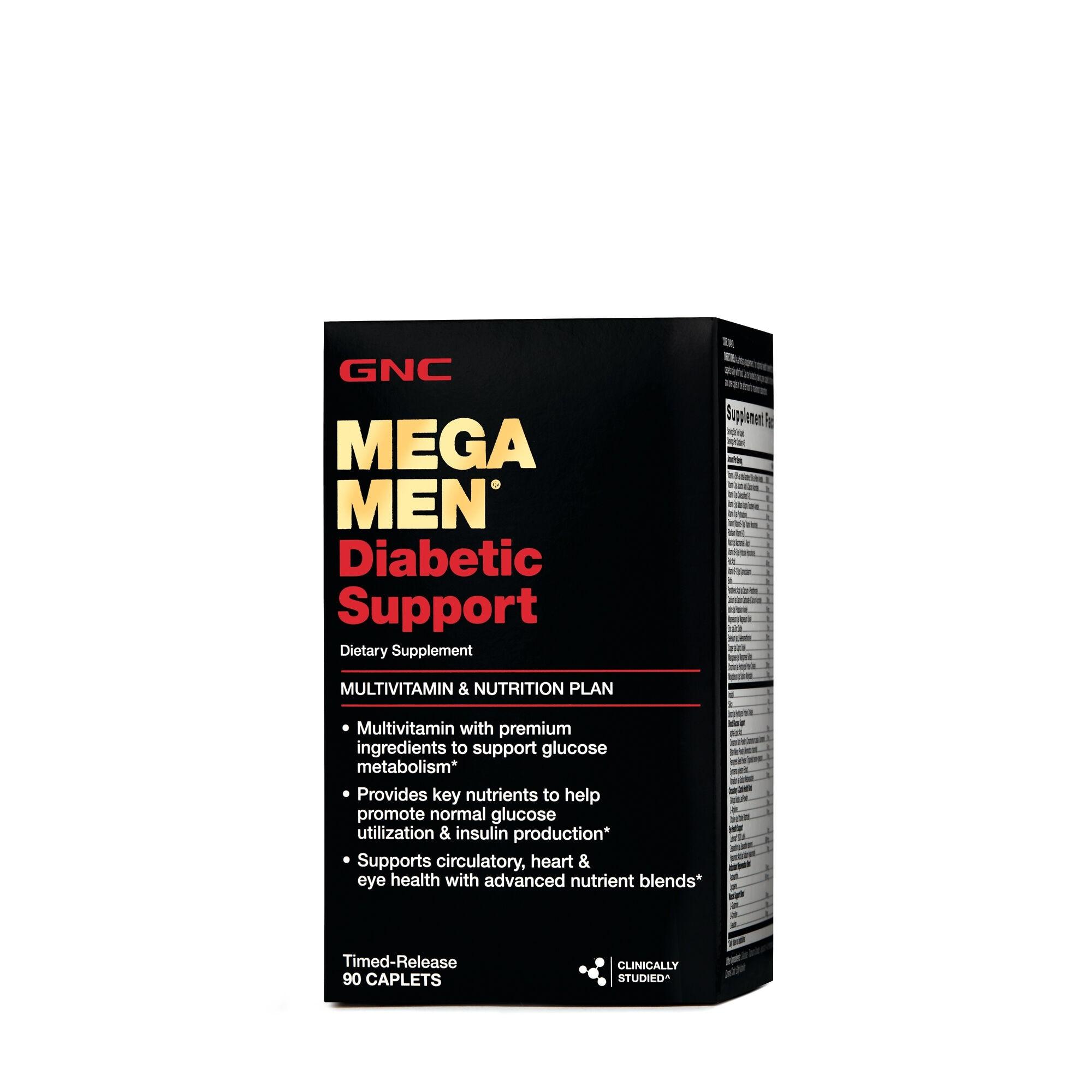 GNC Mega Men® Diabetic Support, Multivitamine Pentru Barbati Pentru Suport Diabetic, 90 tb