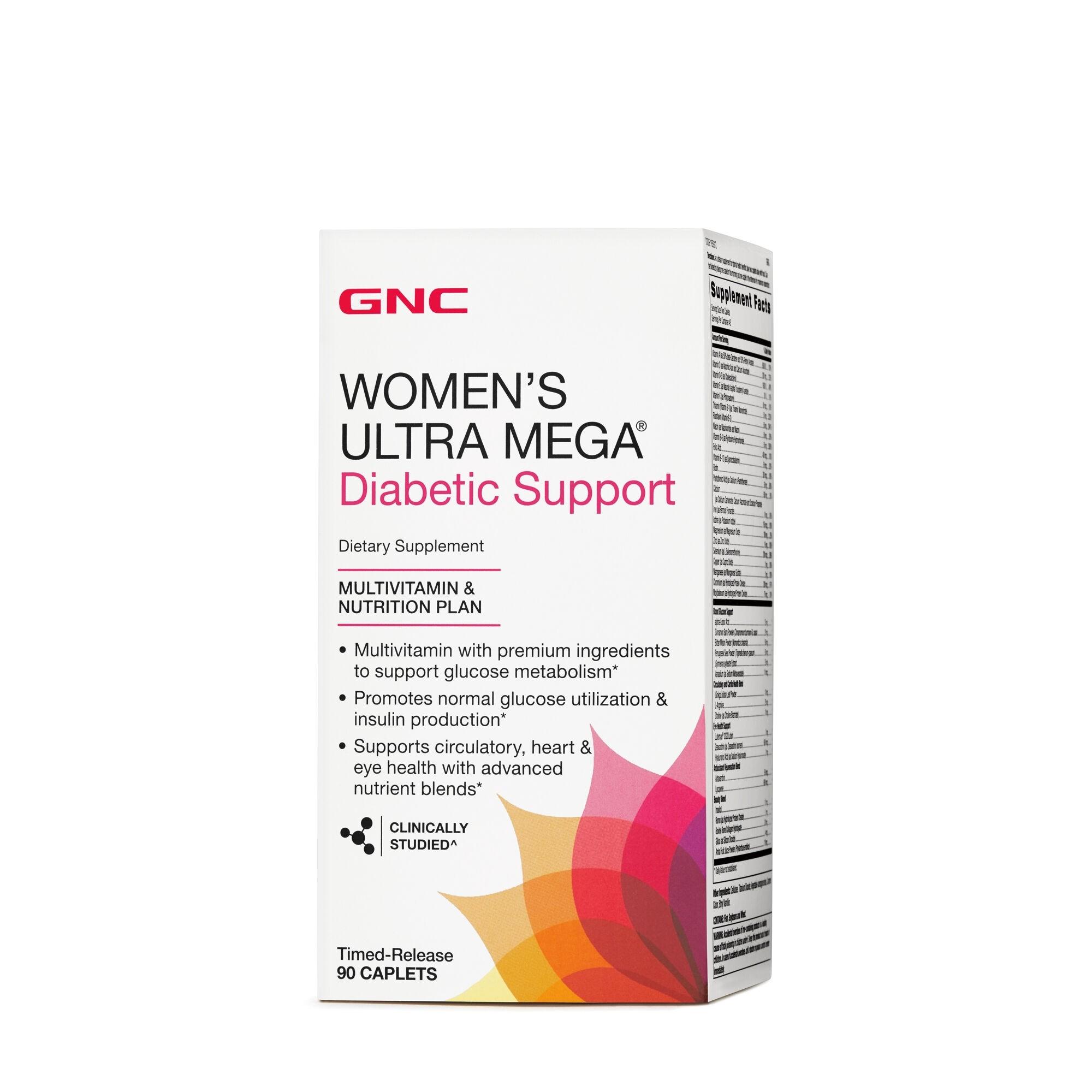 GNC Women's Ultra Mega ® Diabetic Support, Multivitamine Pentru Femei Pentru Suport Diabetic, 90 tb
