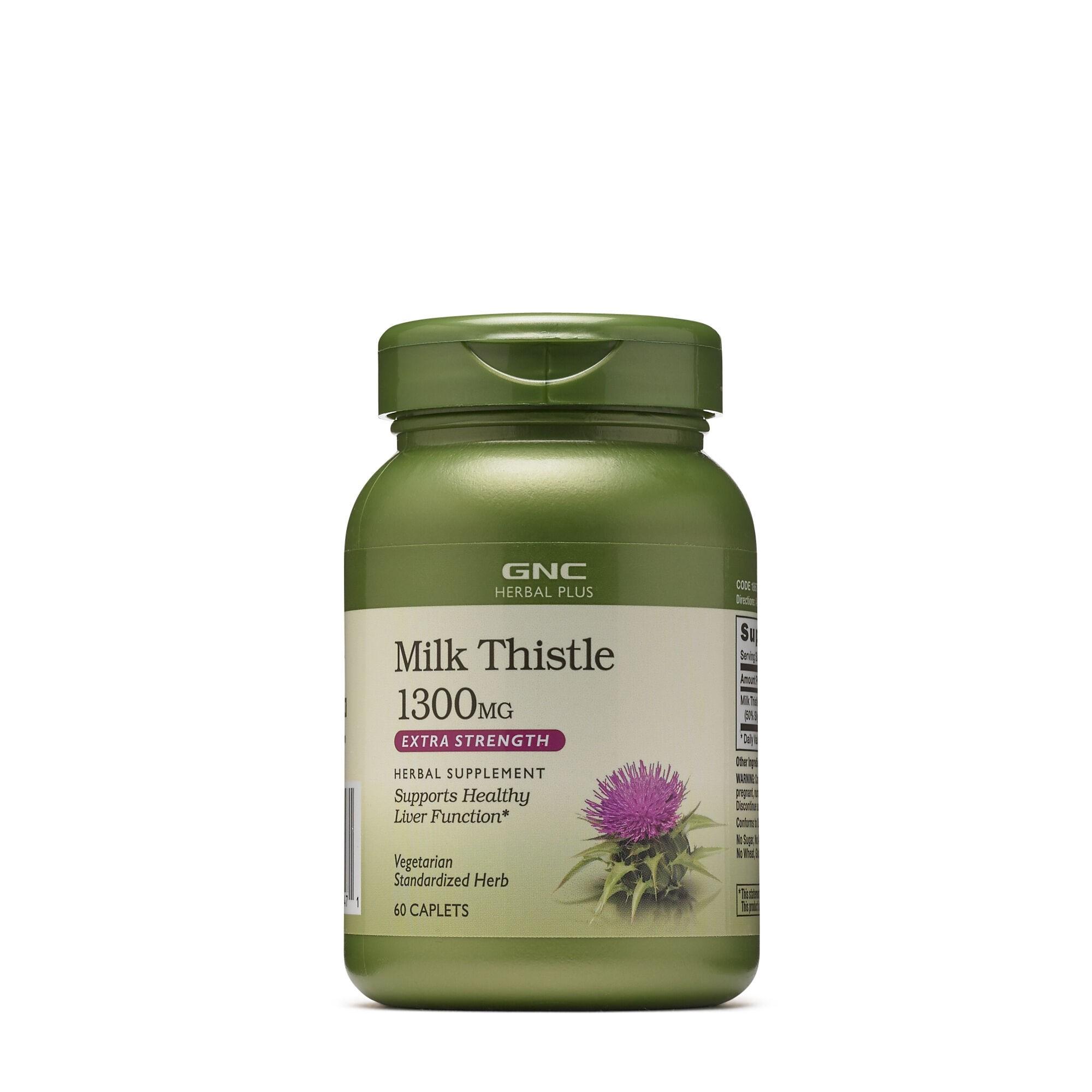 GNC Herbal Plus® Milk Thistle 1300 mg, Extract Standardizat de Silimarina, 60 tb