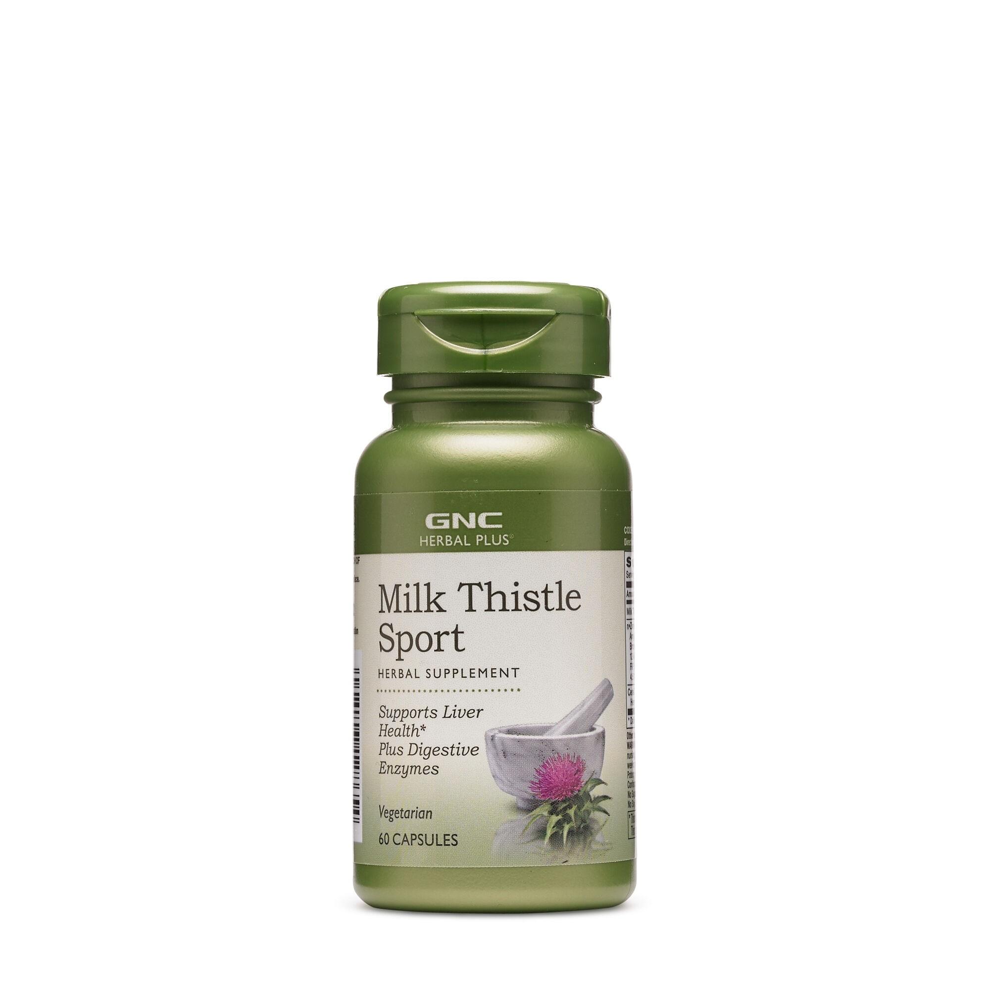 GNC Herbal Plus® Milk Thistle Sport, Extract din Seminte de Armurariu, 60 cps