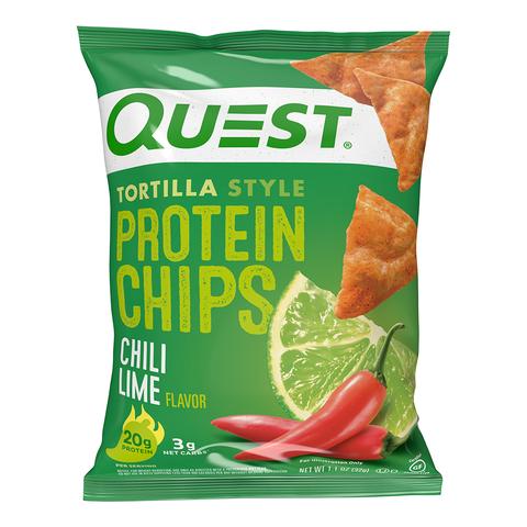 Quest® Tortilla Style Protein Chips, Chipsuri Proteice, cu Aroma de Chili si Lime, 32 g