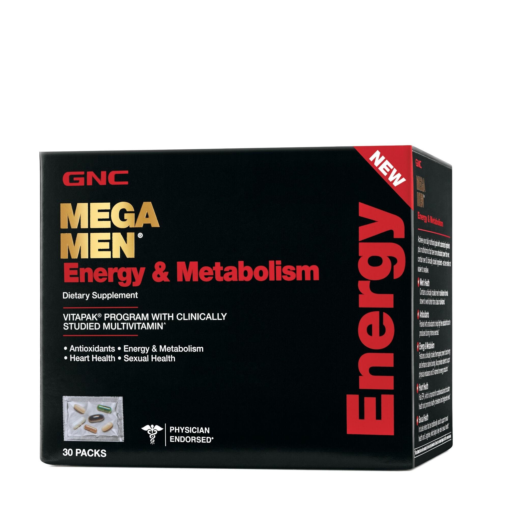 GNC Mega Men® Energy & Metabolism Vitapak® Program, Complex de Multivitamine Pentru Barbati, Energie si Metabolism, 30 Pliculete