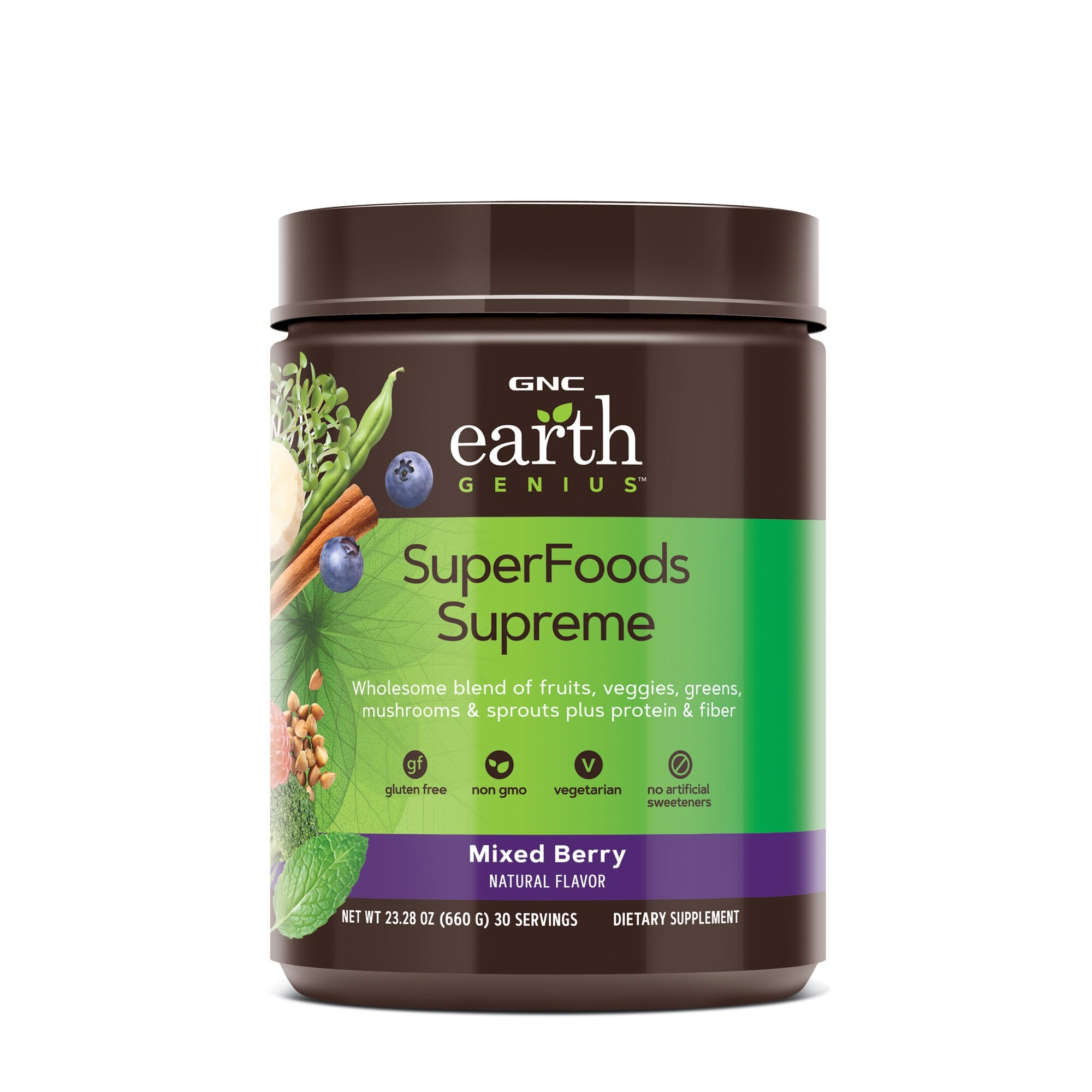 GNC Earth Genius™ SuperFoods Supreme, Mix De Superalimente, cu Aroma de Fructe de Padure, 630 g
