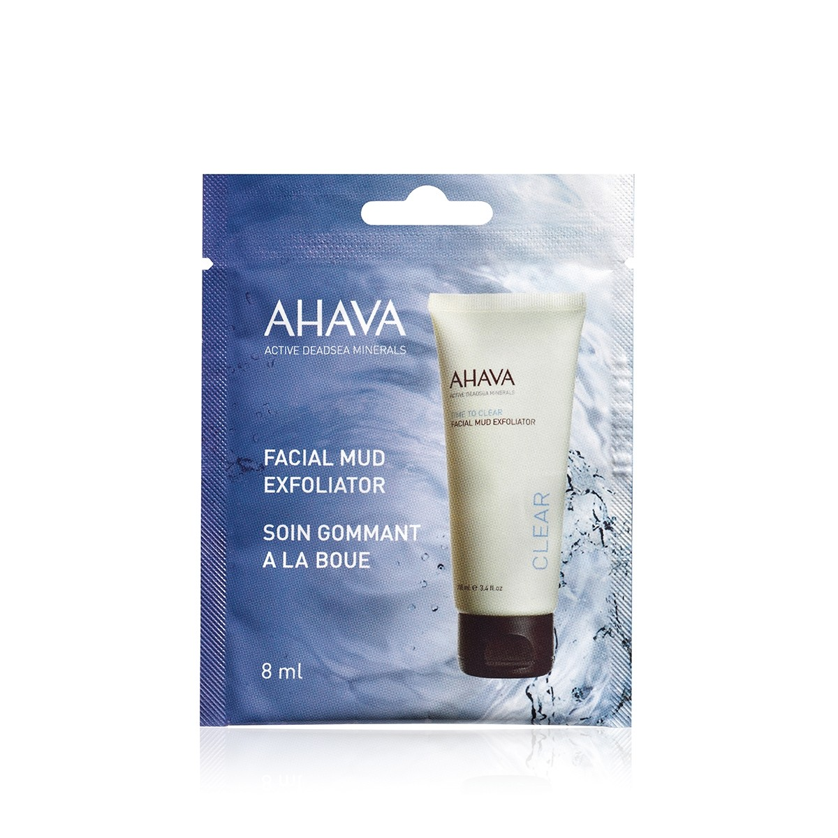 Ahava Single Use Facial Mud Exfoliator, Exfoliator Facial cu Namol, 8 ml