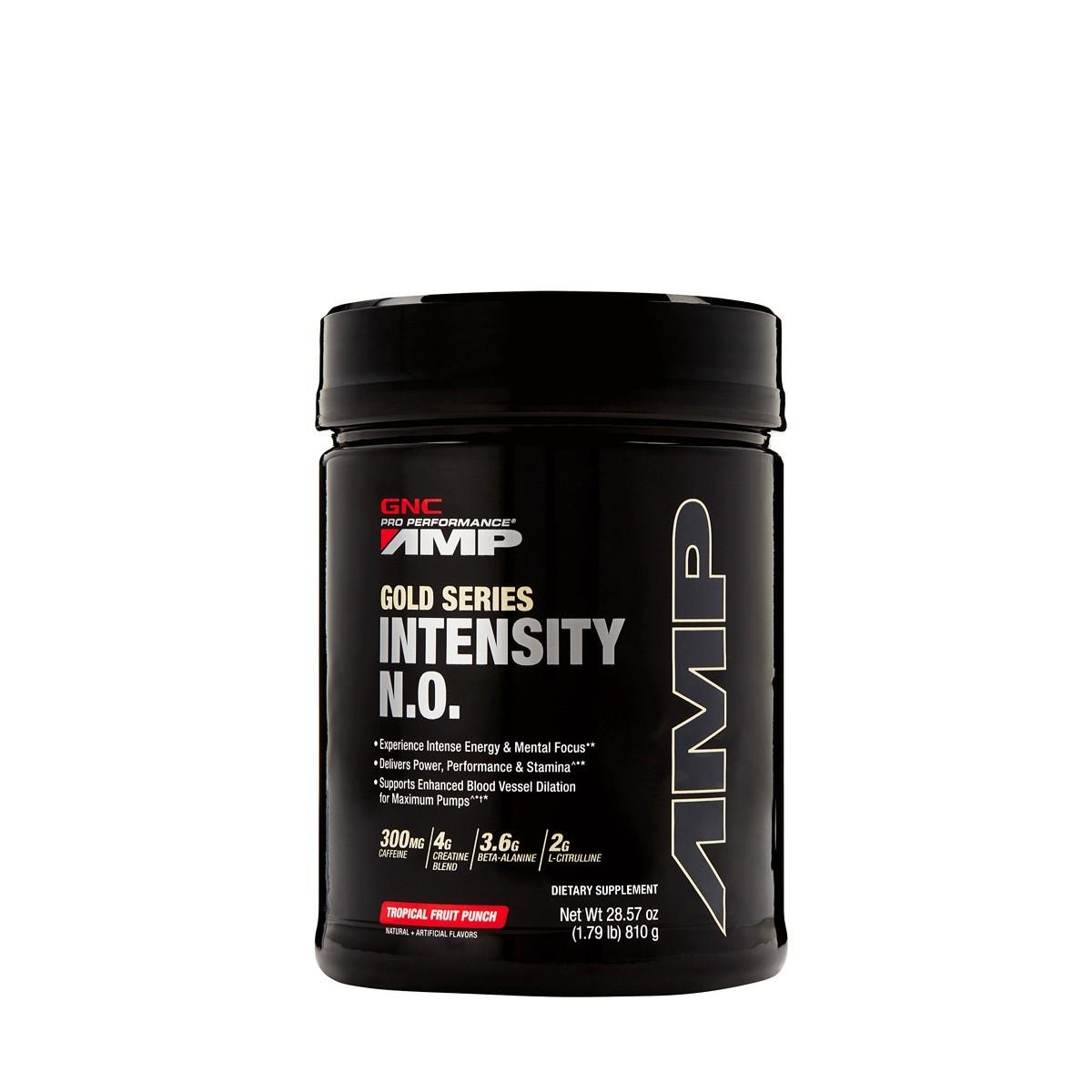 GNC AMP Gold Series Intensity NO, Formula Pre-Workout , cu Aroma de Punch de Fructe Tropicale, 810 g