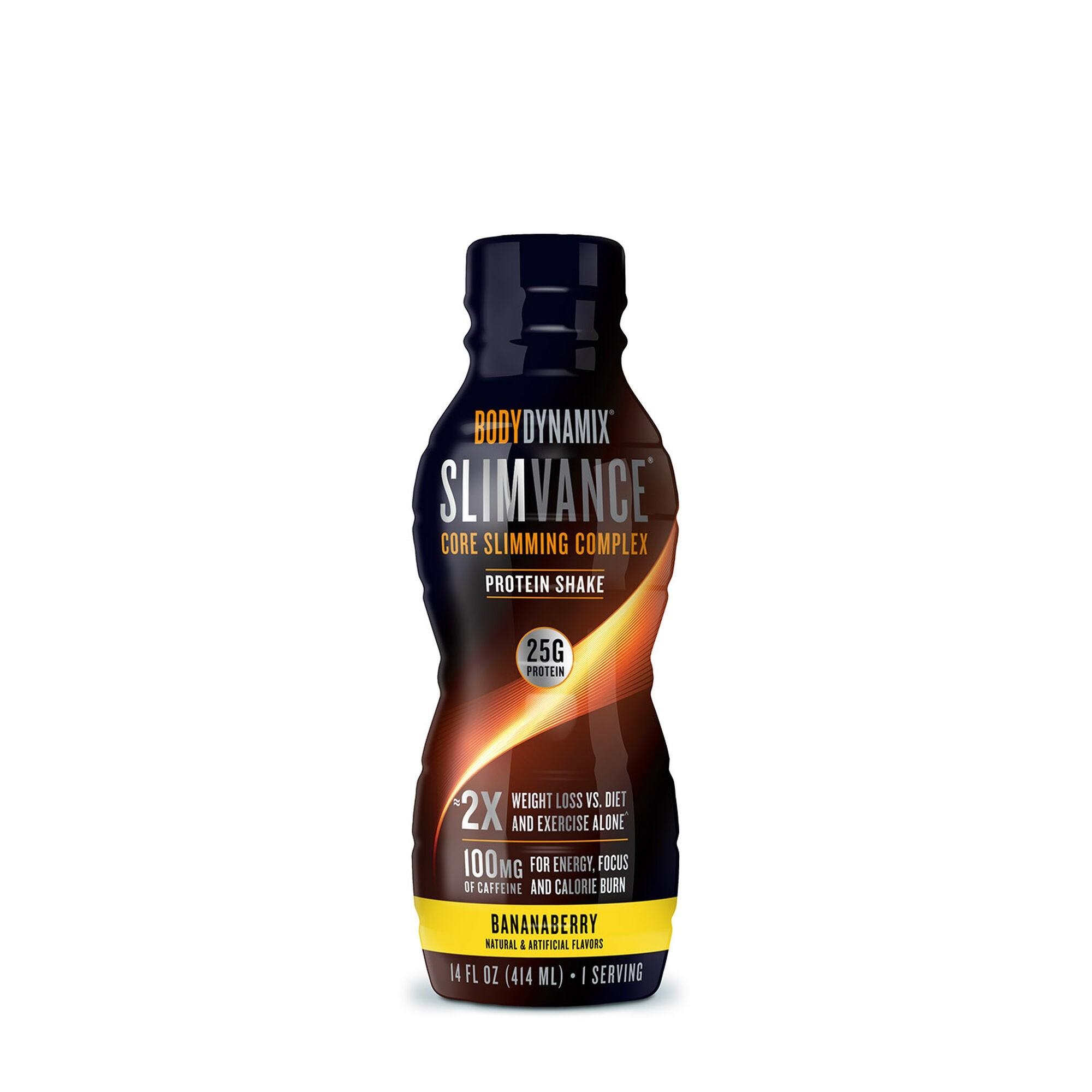 BodyDynamix® Slimvance® Core Sliming Complex  Shake Proteic RTD cu Aroma de Banane si Fructe de Padure, 414 ml