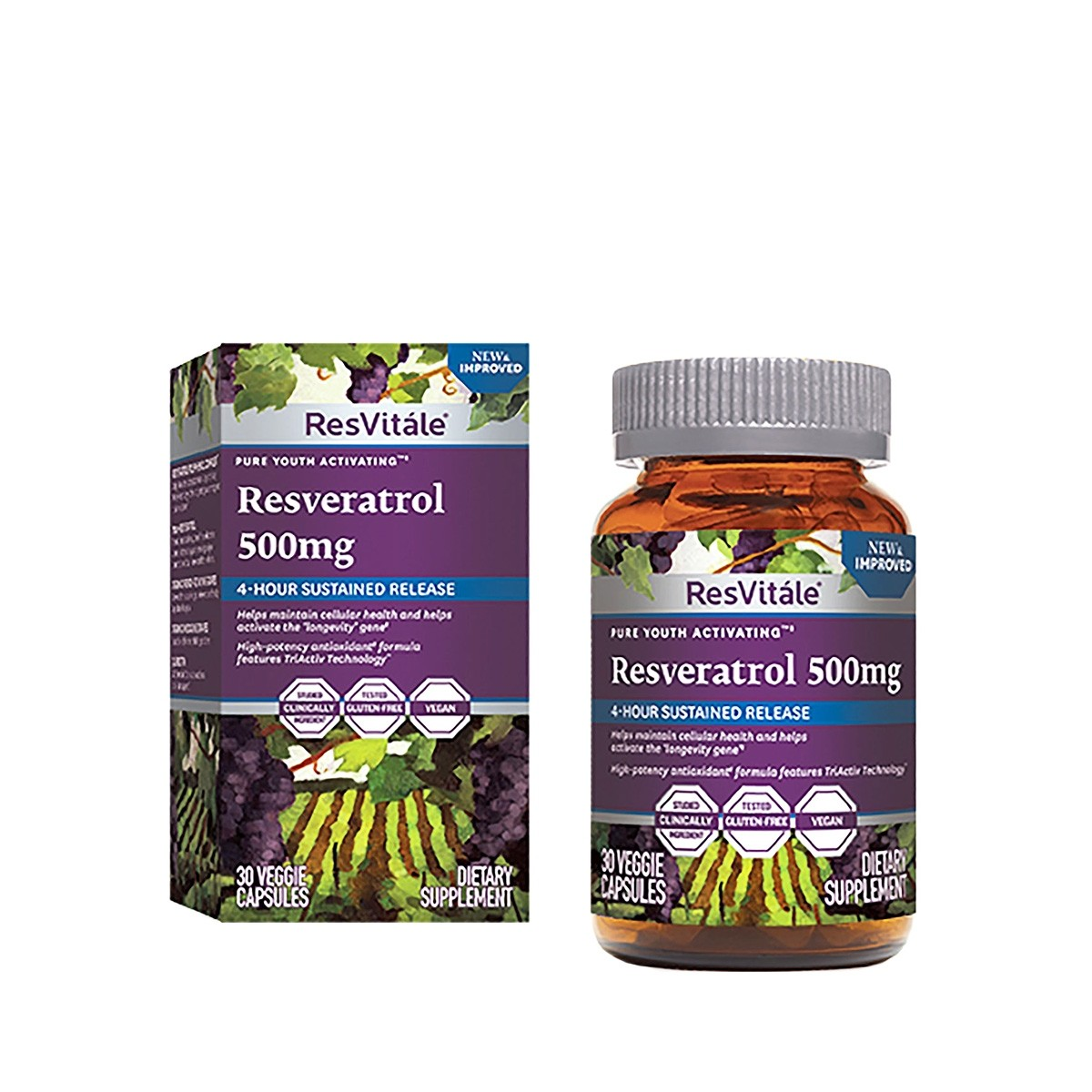 ResVitale™ Resveratrol 500 mg, Quercetina 40 mg, 30 cps