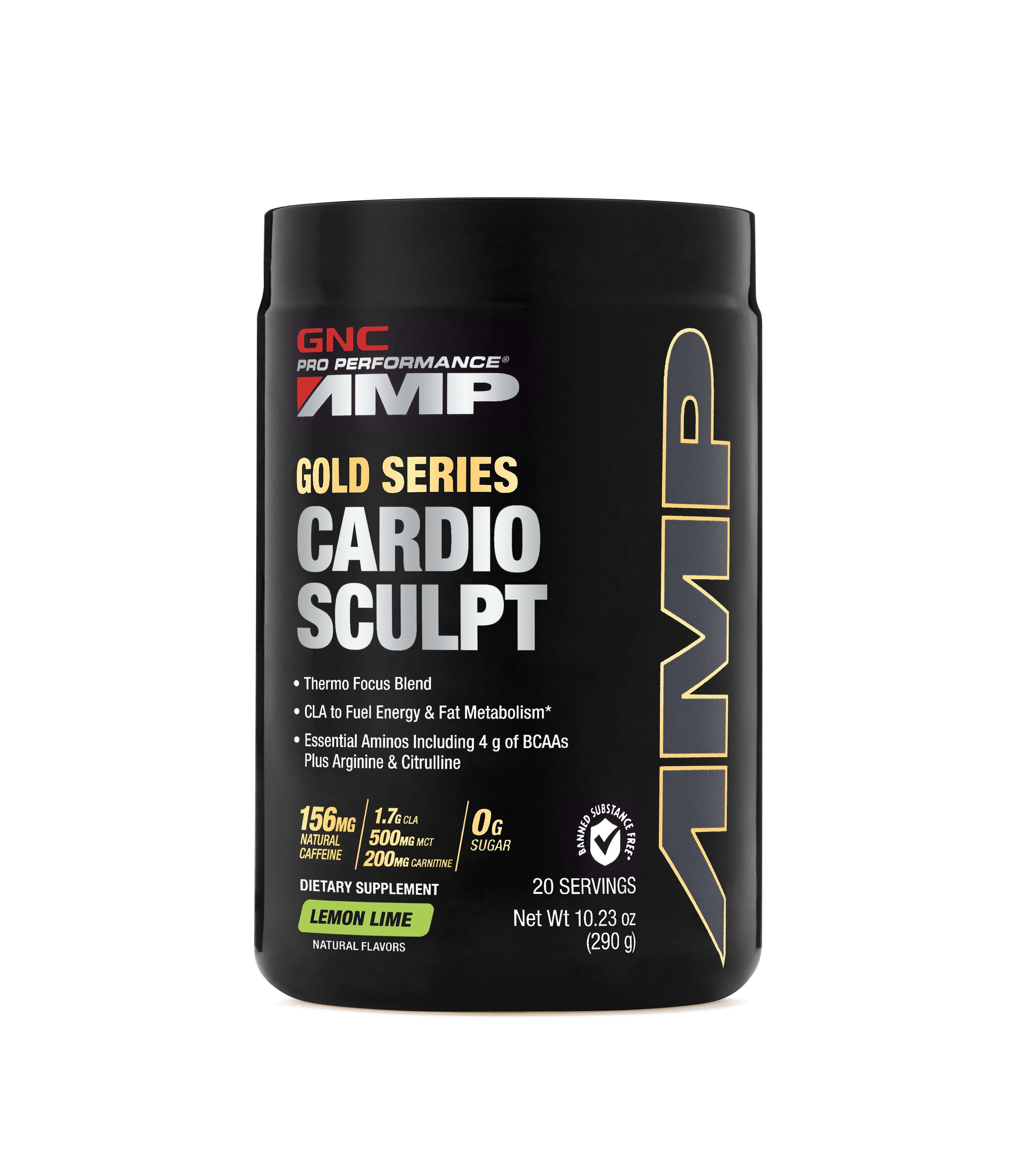 GNC Pro Performance®  AMP Cardio Sculpt, Formula Pentru Accelerarea Metabolismului si Arderea Grasimilor, cu Aroma de Lamaie si Lime, 290 g