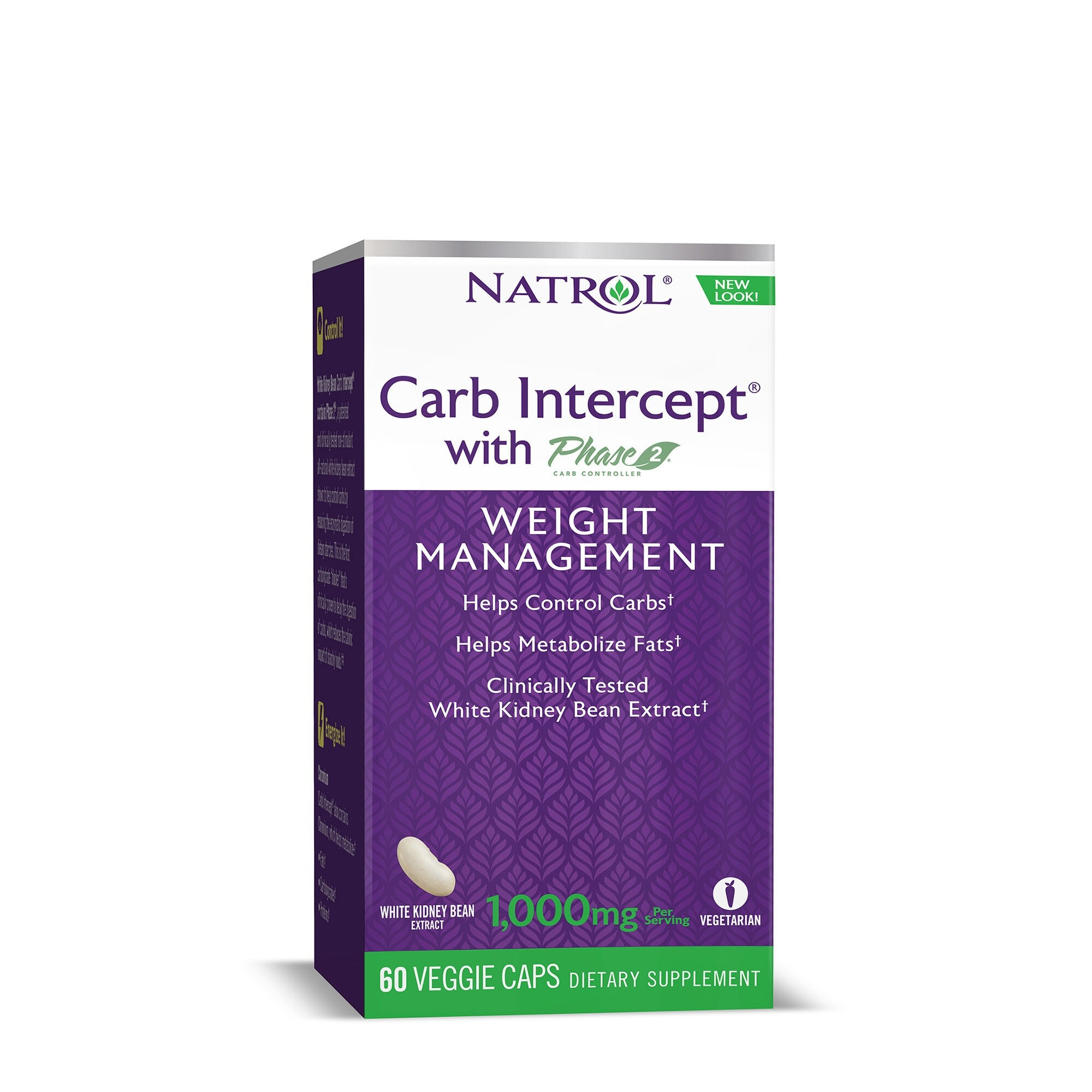 Natrol® White Kidney Bean Carb Intercept® Phase 2®, Extract din Fasole Alba, 60 cps
