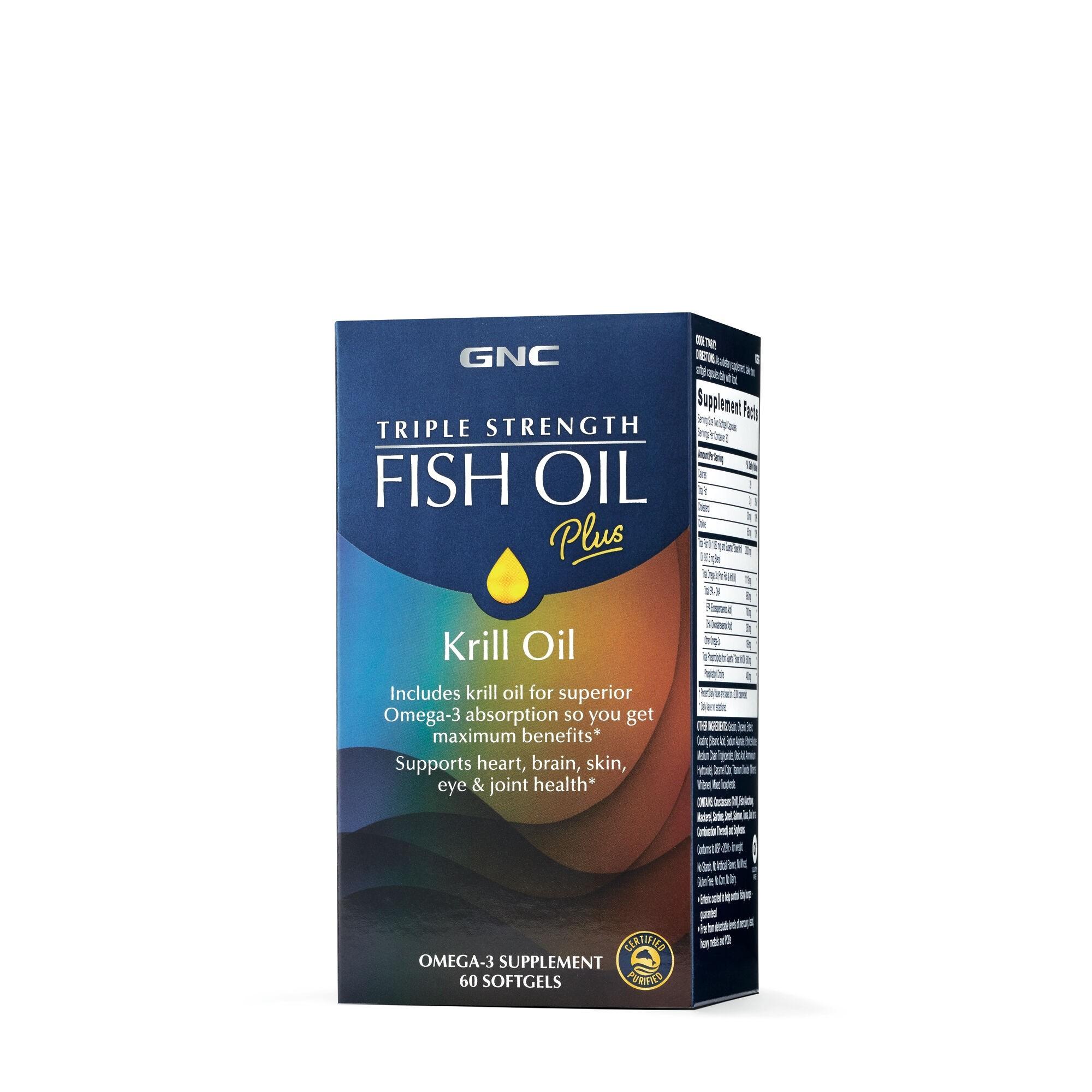 GNC Triple Strength Fish Oil Plus Krill Oil, Ulei de Peste Plus Ulei de Krill, 60 cps