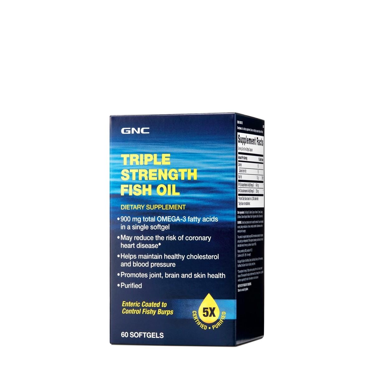 GNC Triple Strenght Fish Oil, Ulei de Peste, 60 cps