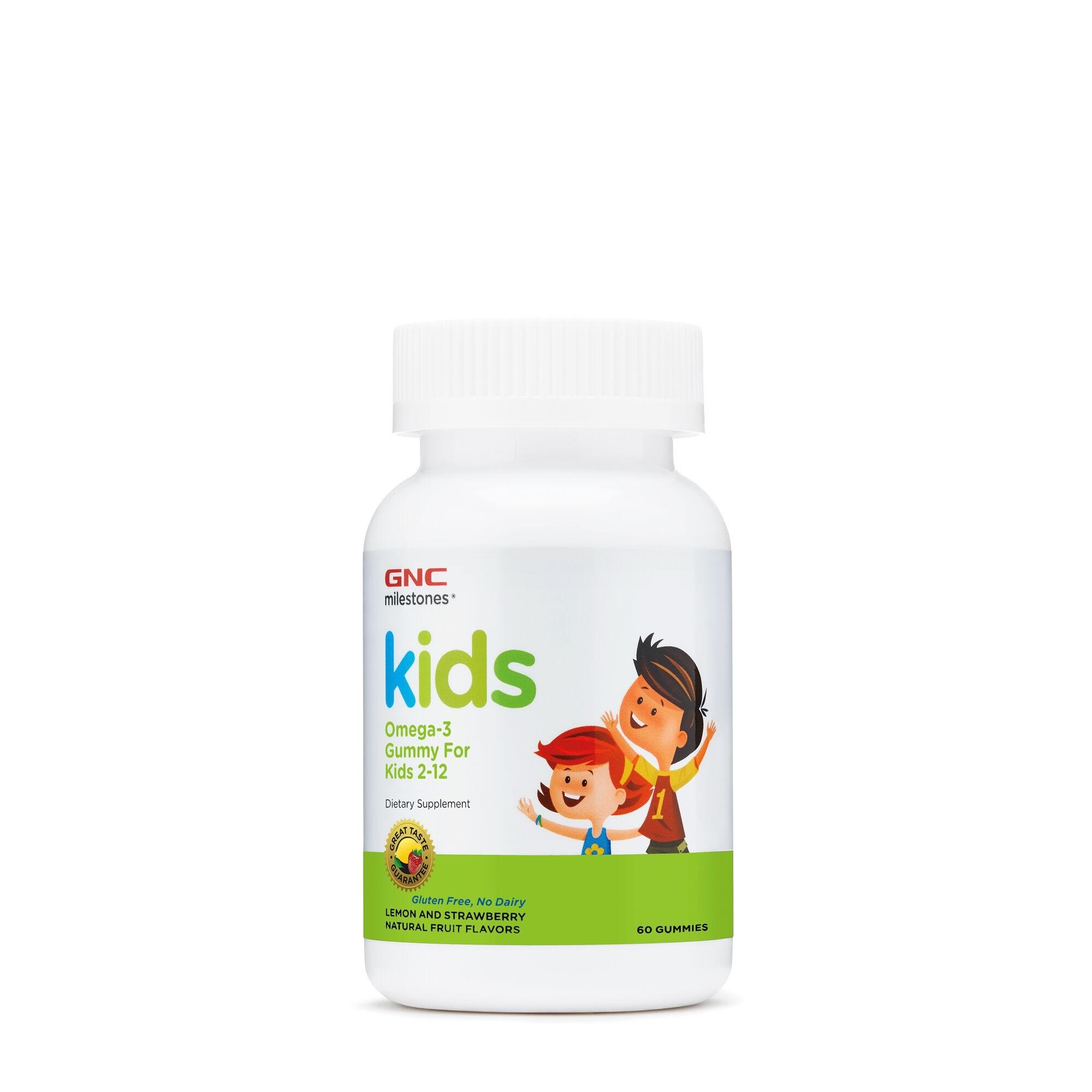 GNC Milestones® Kids Omega-3 Gummy, Acizi Grasi Omega-3 pentru Copii 2-12 Ani, cu Aroma Naturala de Lamaie si Capsuni, 60 jeleuri