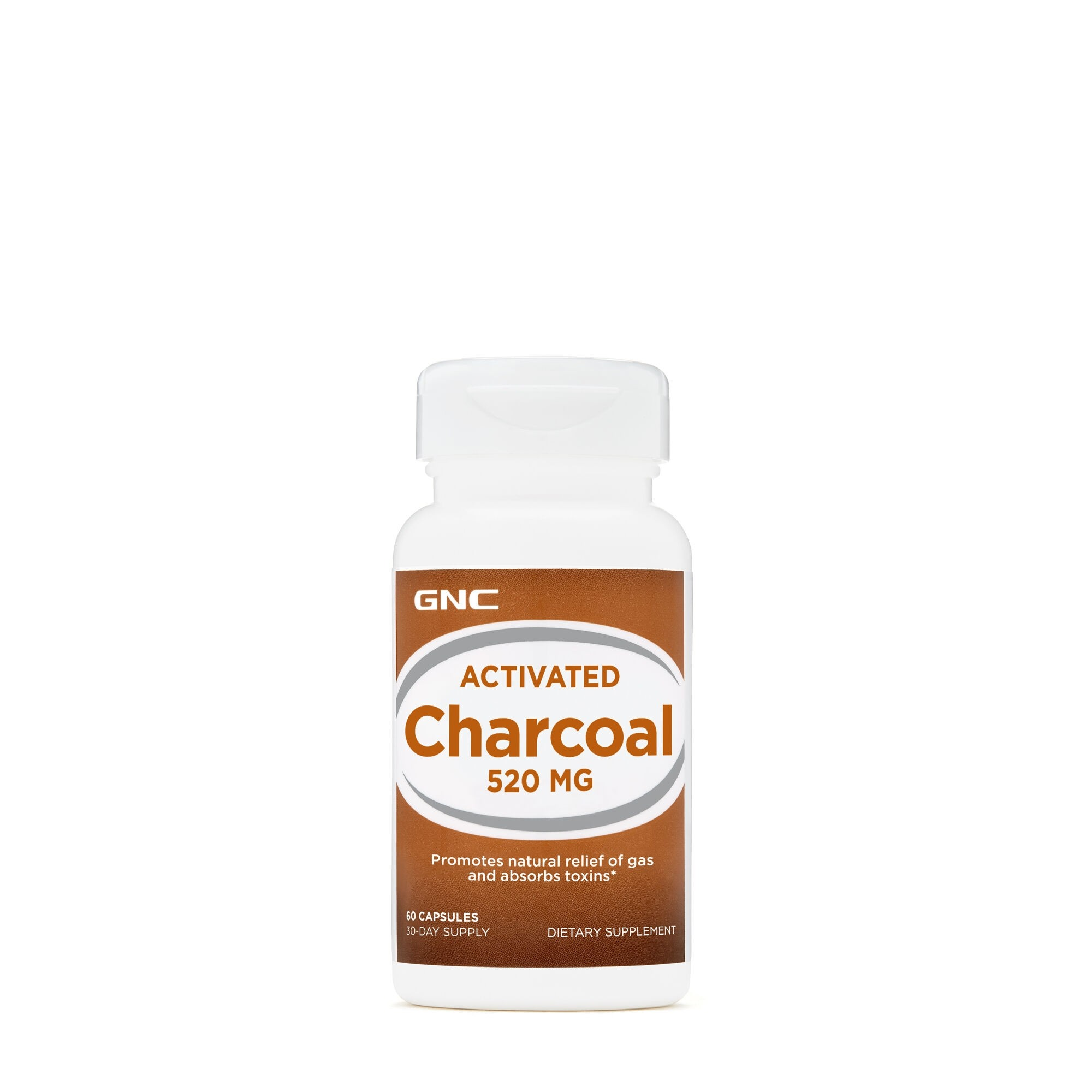 GNC Activated Charcoal 520mg, Carbune Activ, 60 cps