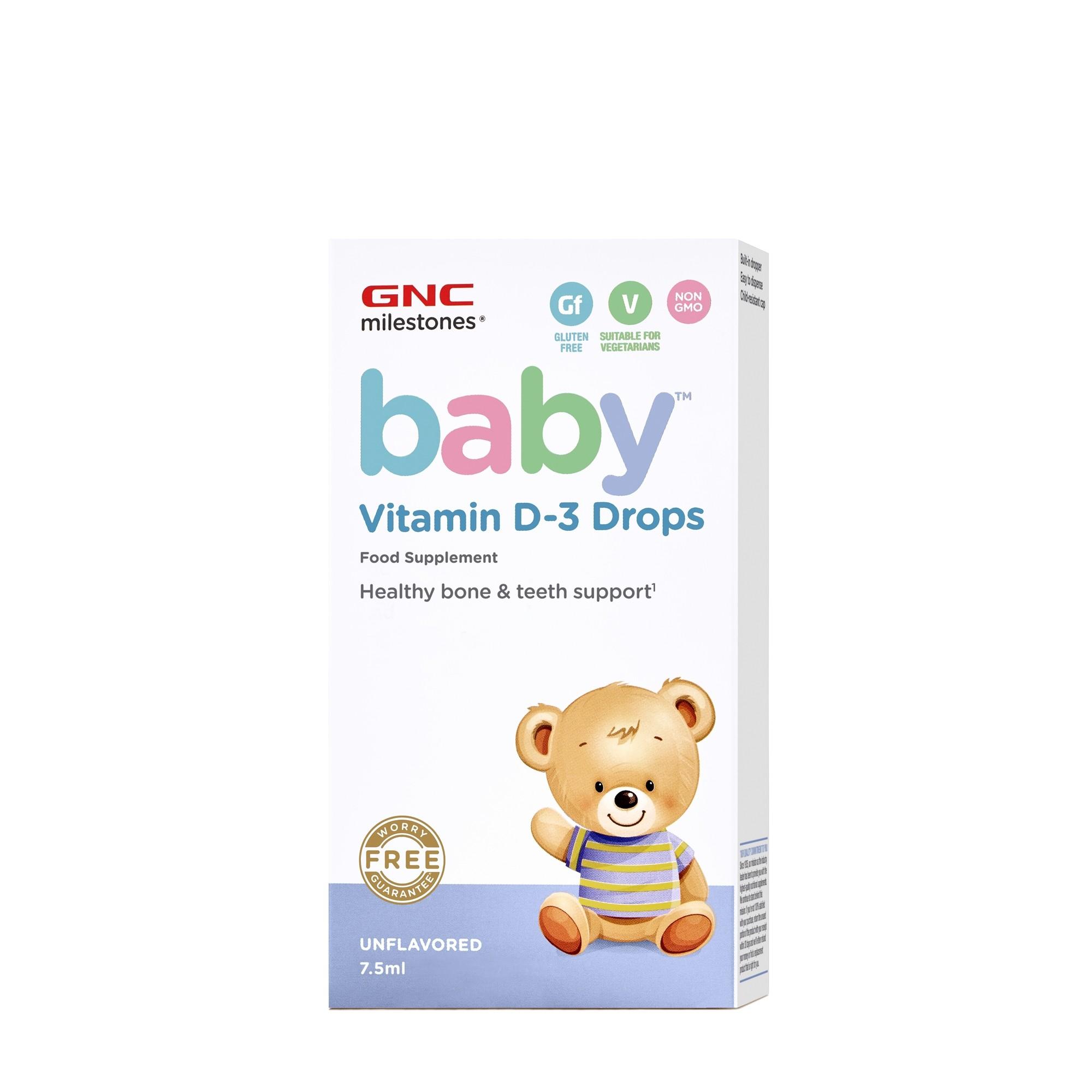 GNC Milestones® Baby™ Vitamin D-3 Drops, Vitamina D-3 Picaturi Pentru Bebelusi, 7.5 ml