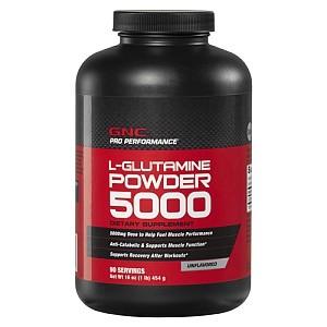 GNC Pro Performance®  L-Glutamine Powder 5000, L-Glutamina pulbere, Fara Aroma, 454 g