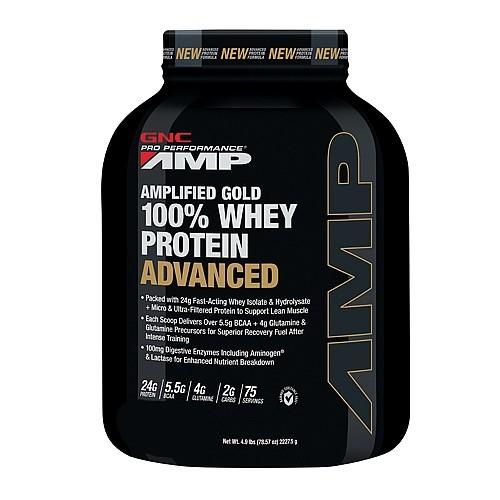 GNC Pro Performance AMP Amplified Gold Proteina din zer Advanced cu Aroma de Ciocolata, 2325 g