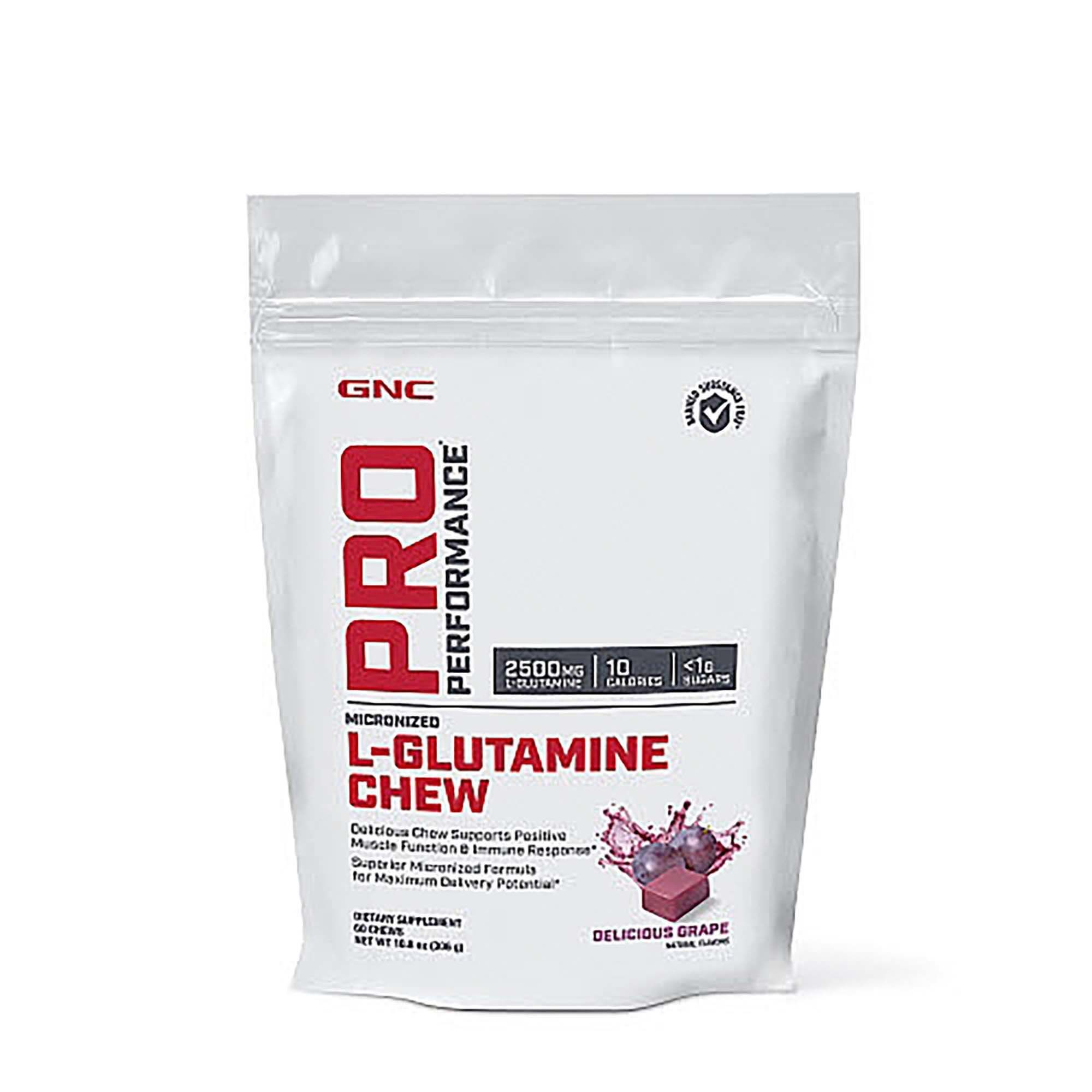 GNC Pro Performance®  L-Glutamine Chew, Glutamina 2500 mg, Aroma de Struguri, 60 Caramele