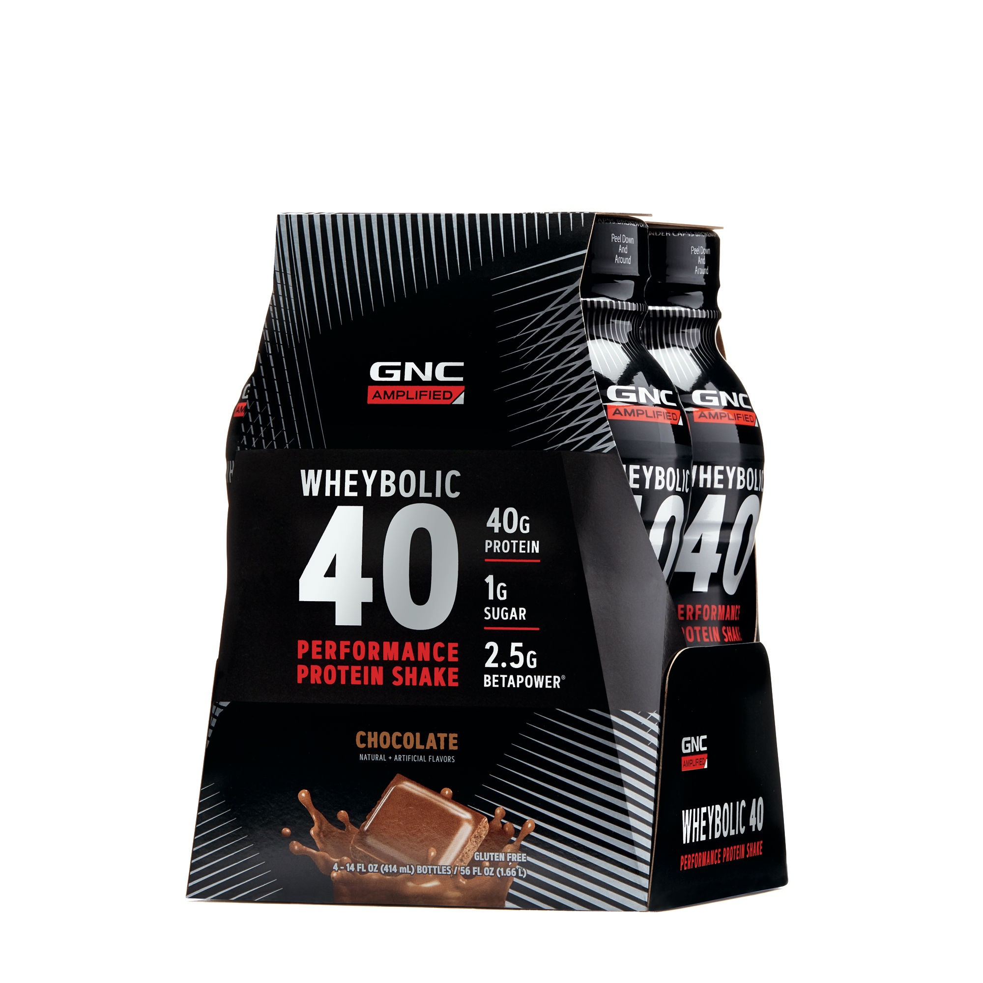 GNC AMP Wheybolic 40, Shake Proteic RTD, cu Aroma de Ciocolata, 414 ml
