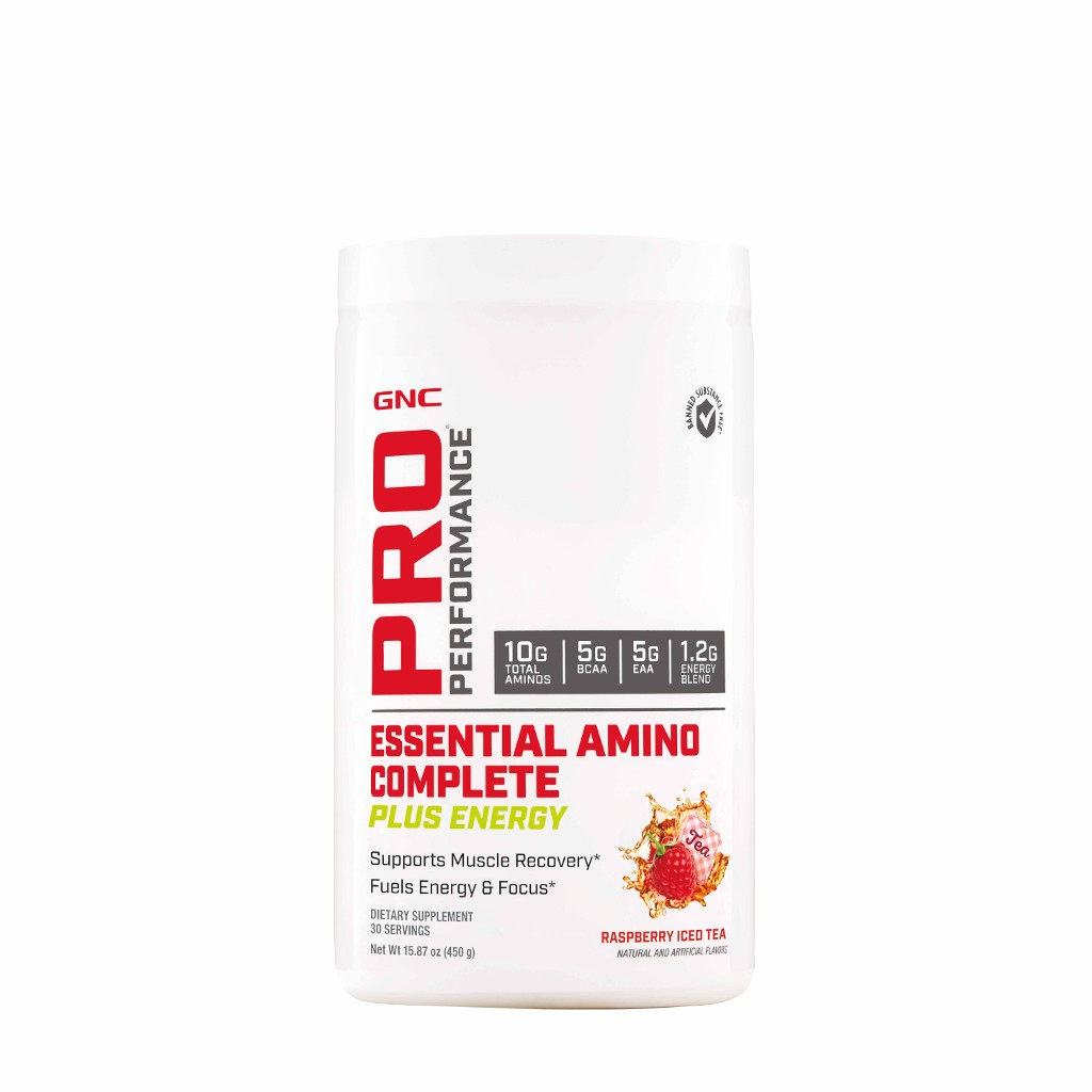 GNC Pro Performance® Essential Amino Complete Plus Energy, Aminoacizi, cu Aroma de Ceai de Zmeura, 450 g