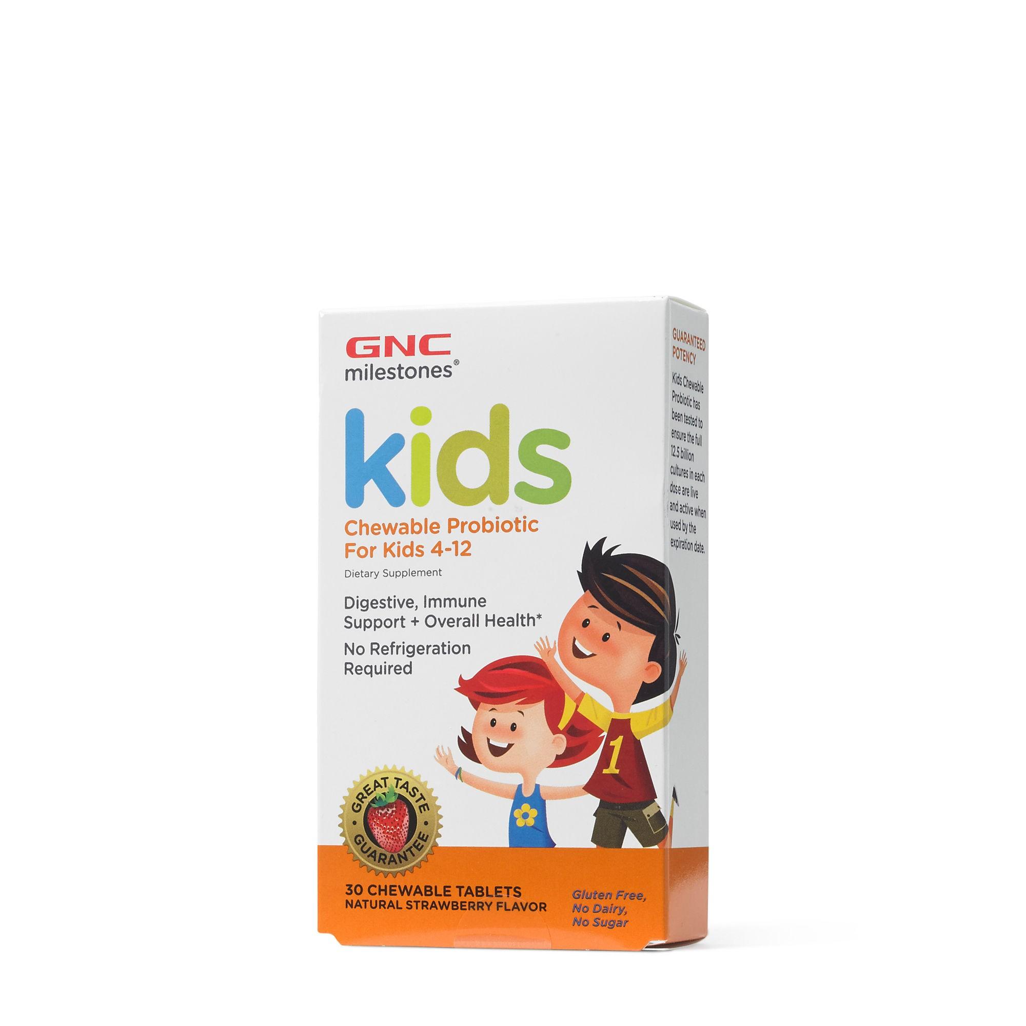GNC Milestones® Kids Chewable Probiotic, Probiotice Masticabile Pentru Copii 4-12 ani, cu Aroma Naturala de Capsuni, 30 tb