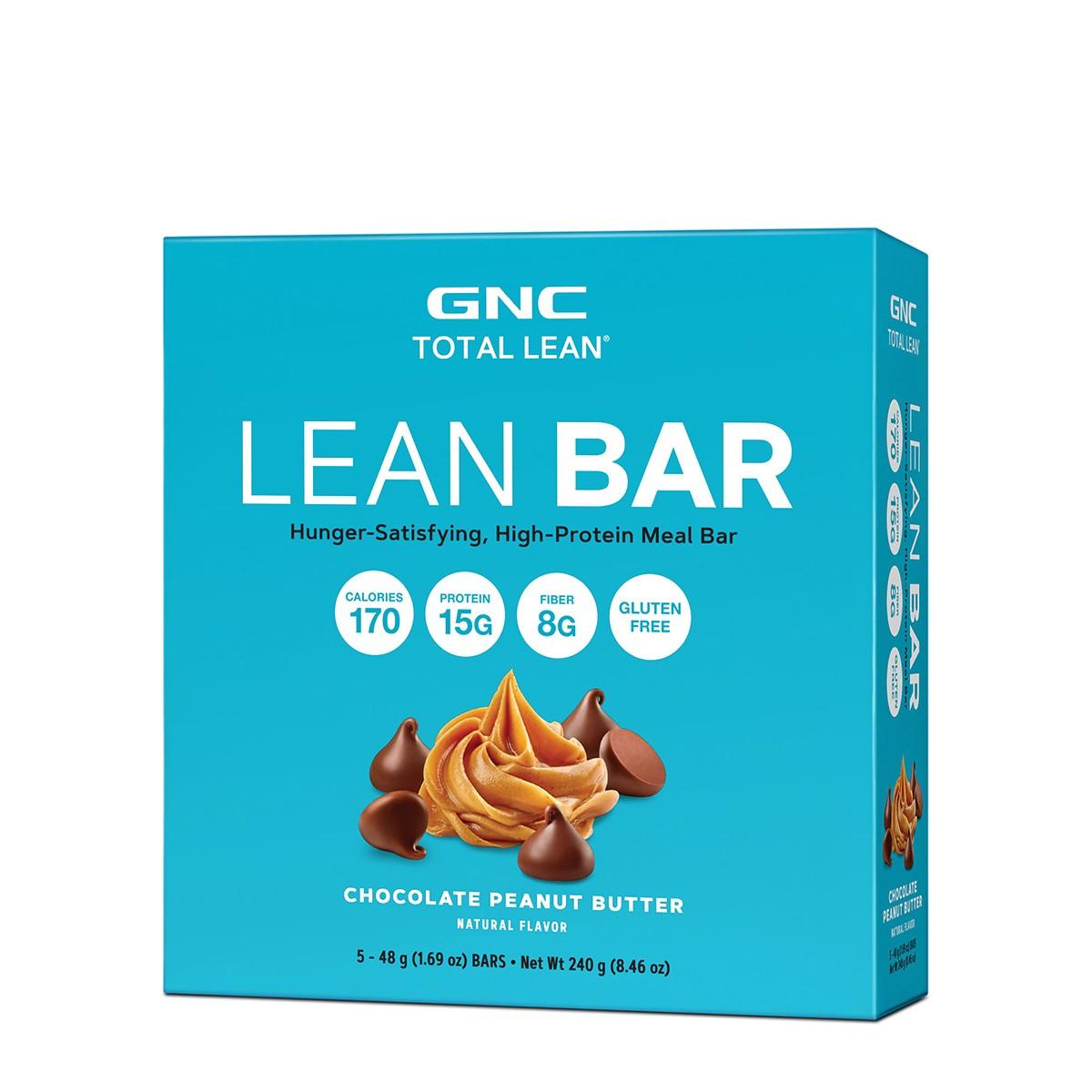 GNC Total Lean® Lean Bar, Baton Proteic, cu Aroma de Ciocolata si Unt de Arahide, 48 g
