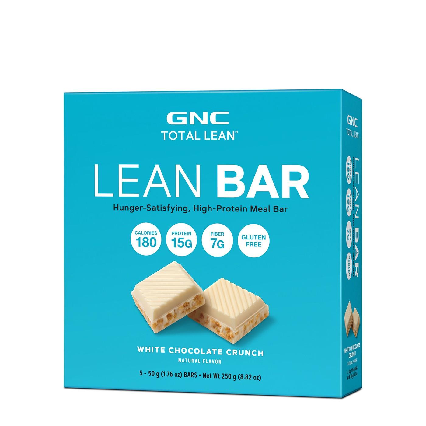 GNC Total Lean® Lean Bar, Baton Proteic, cu Aroma de Ciocolata Alba Crocanta, 48g