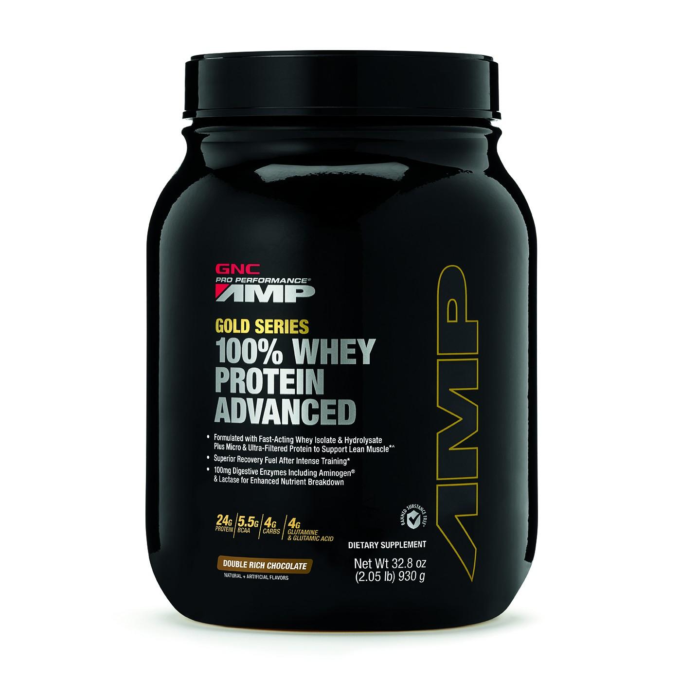 GNC AMP Gold Series 100% Whey Protein Advanced, Proteina din Zer, cu Aroma de Ciocolata, 930 g