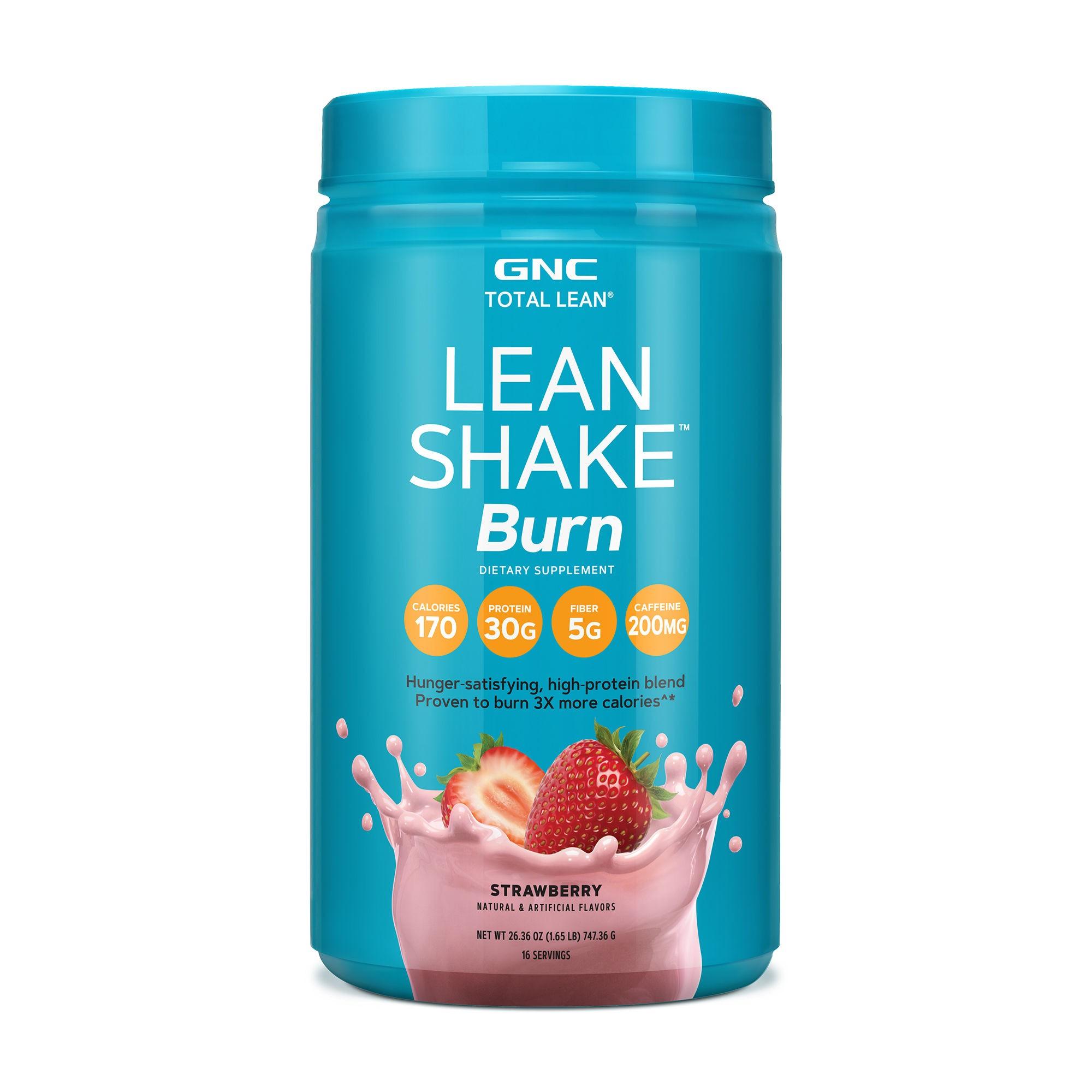 GNC Total Lean® Lean Shake™ Burn, Proteina cu Amestec Termogenic, cu Aroma de Capsuni, 747.36 g