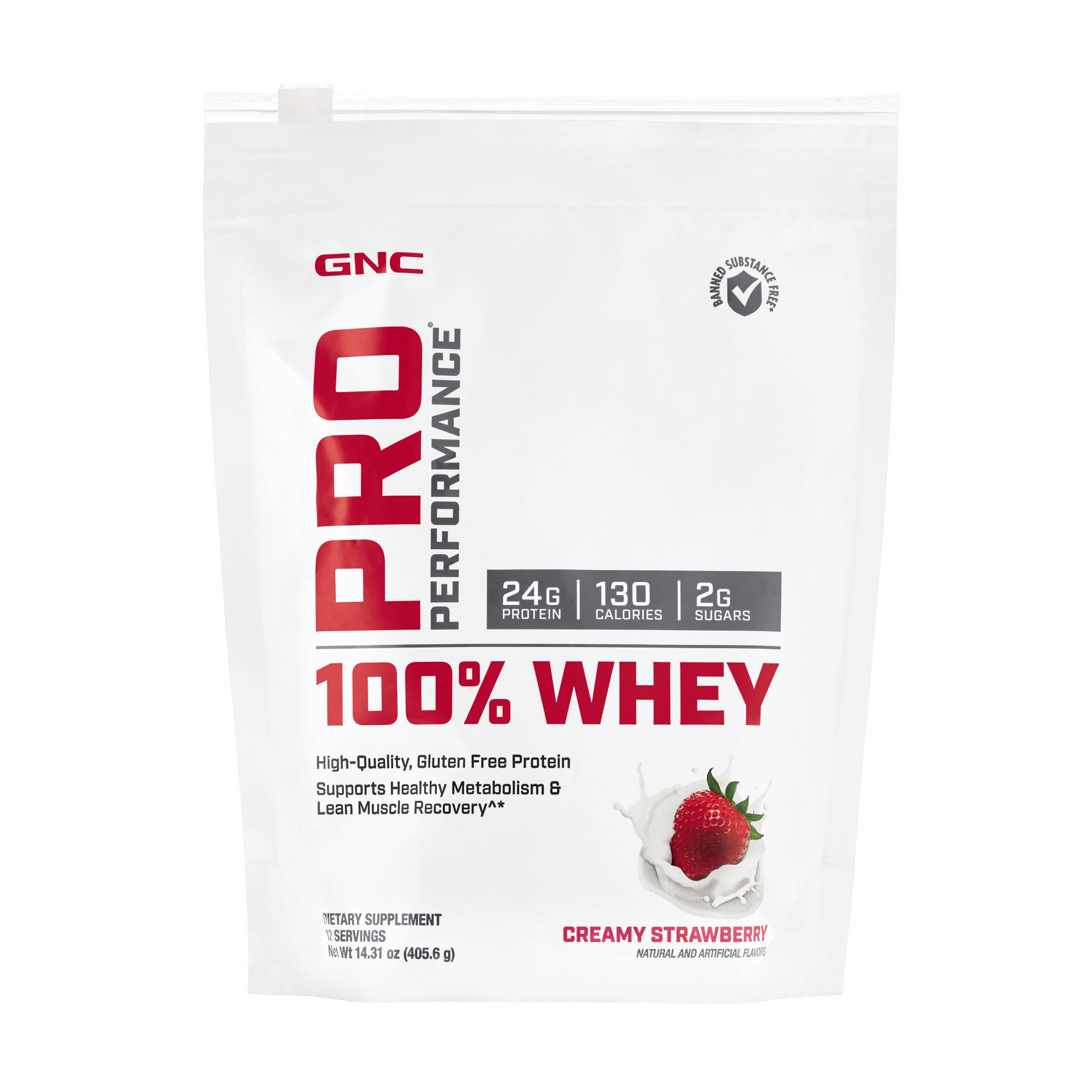 GNC Pro Performance® 100% Whey, Proteina din Zer, cu Aroma de Capsuni, 405.6g