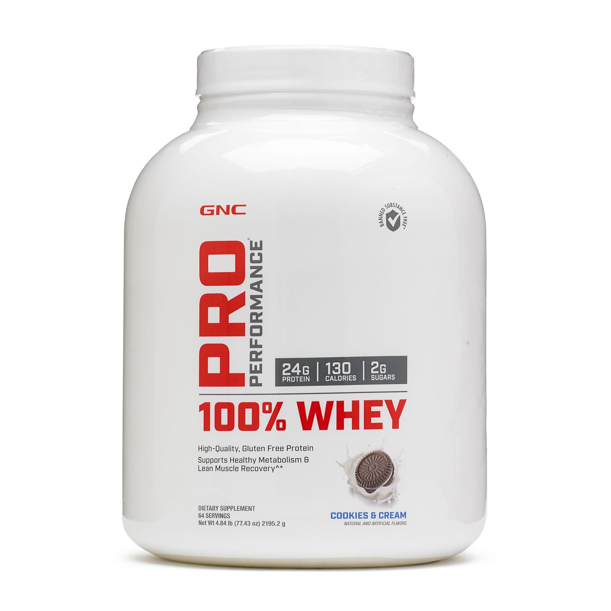 GNC Pro Performance® 100% Whey, Proteina din Zer, cu Aroma de Biscuiti si Crema, 2195.2g