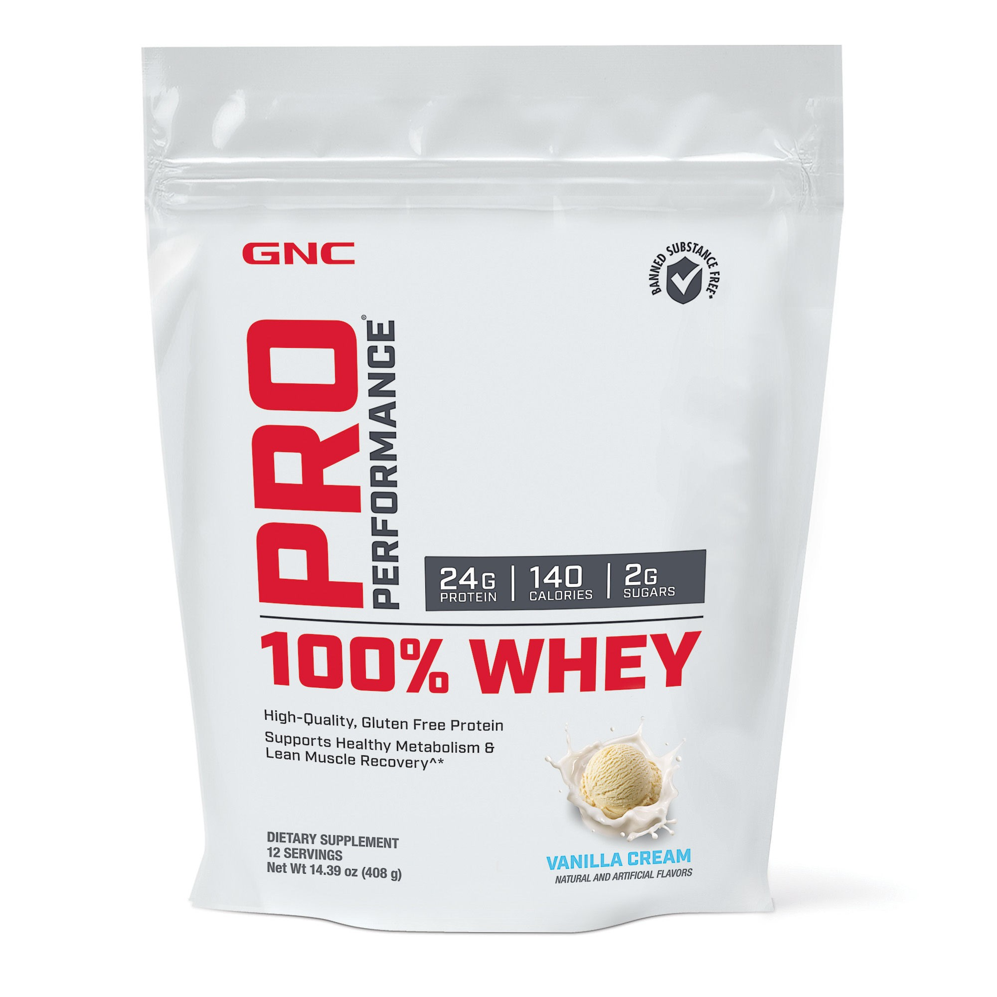 GNC Pro Performance® 100% Whey, Proteina din Zer, cu Aroma de Vanilie, 408g