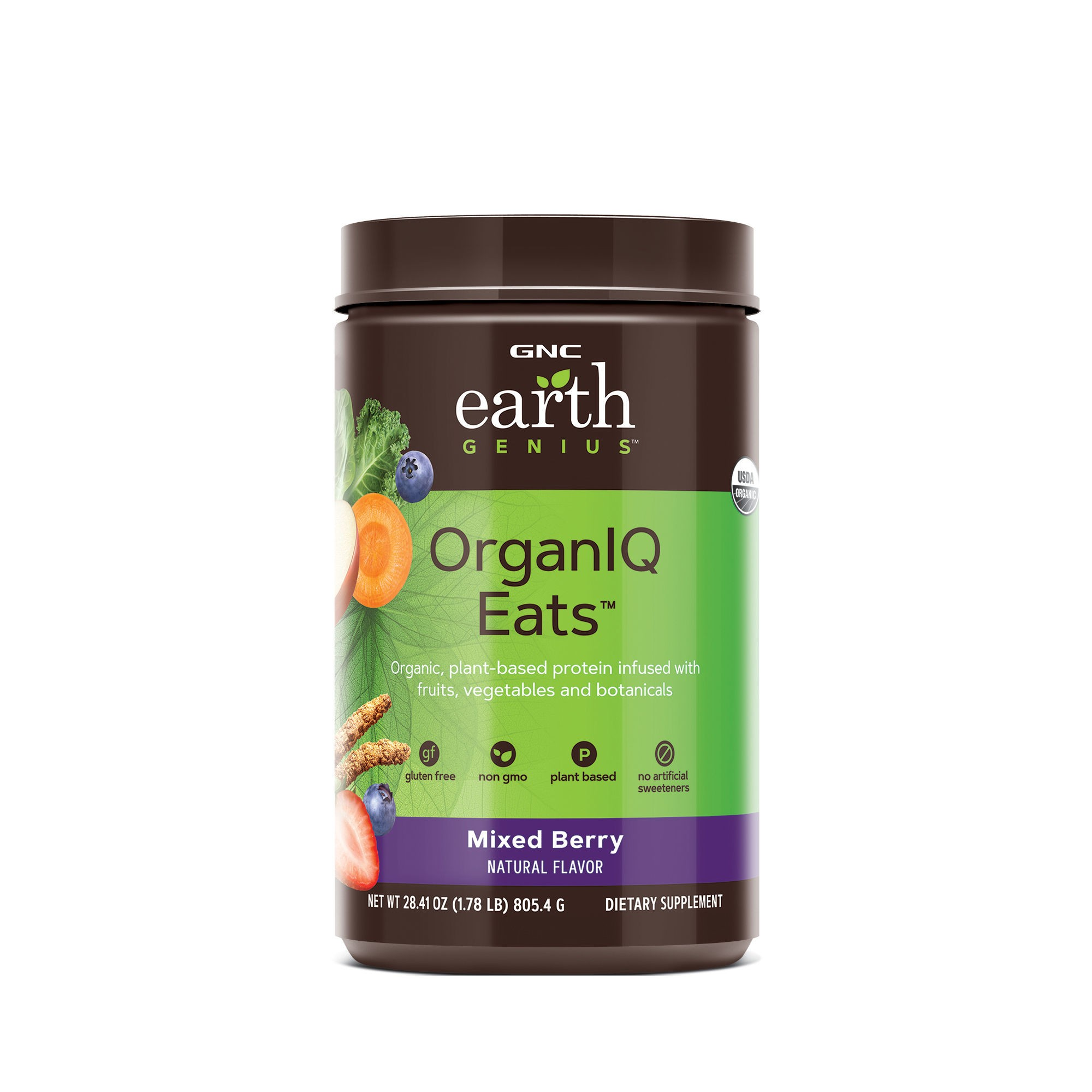 GNC Earth Genius™ OrganIQ Eats™, Pudra Proteica Vegana cu Aroma de Fructe de Padure, 805.4 g