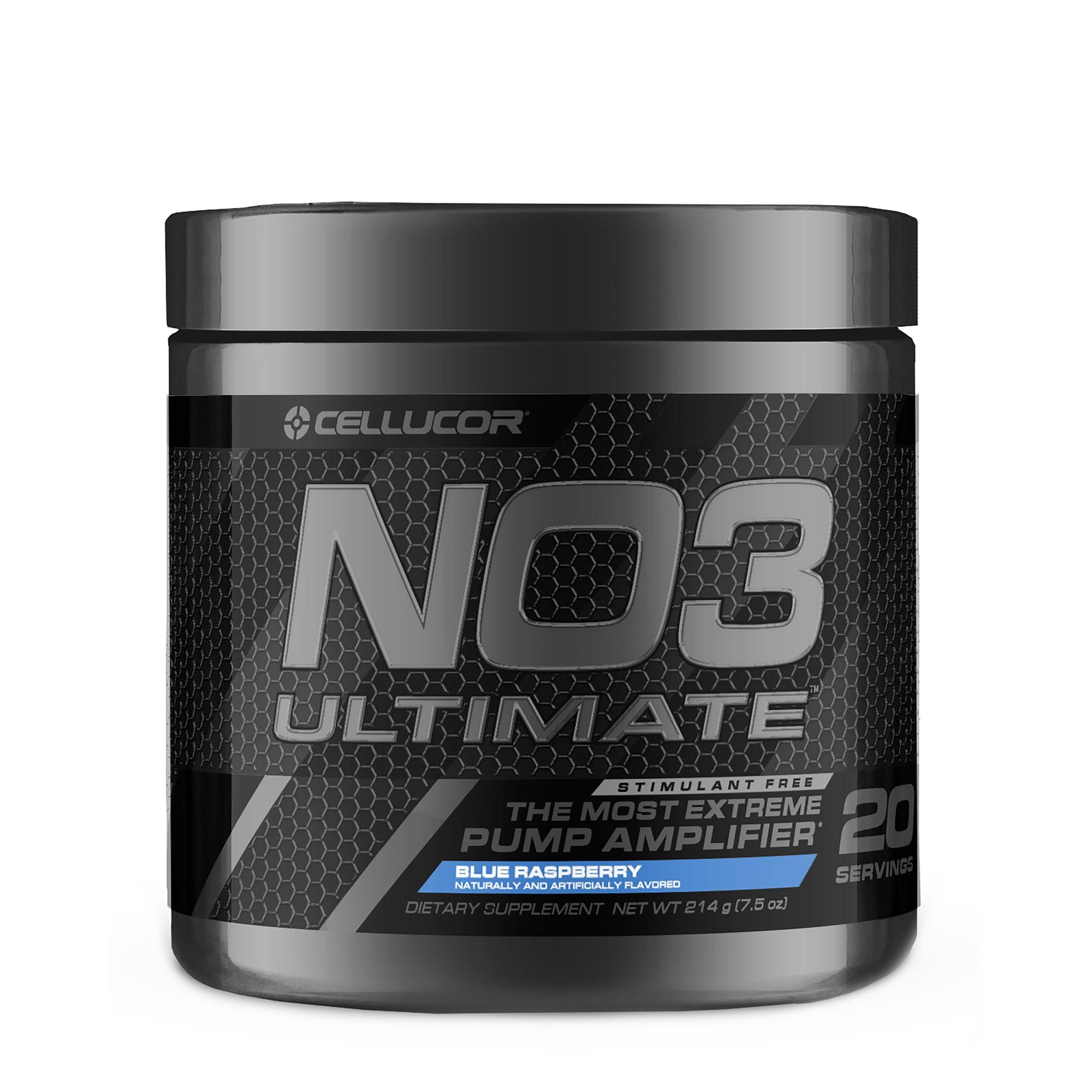 Cellucor® NO3 Ultimate™, Formula Pre-Workout, cu Aroma de Zmeura Albastra, 214 g