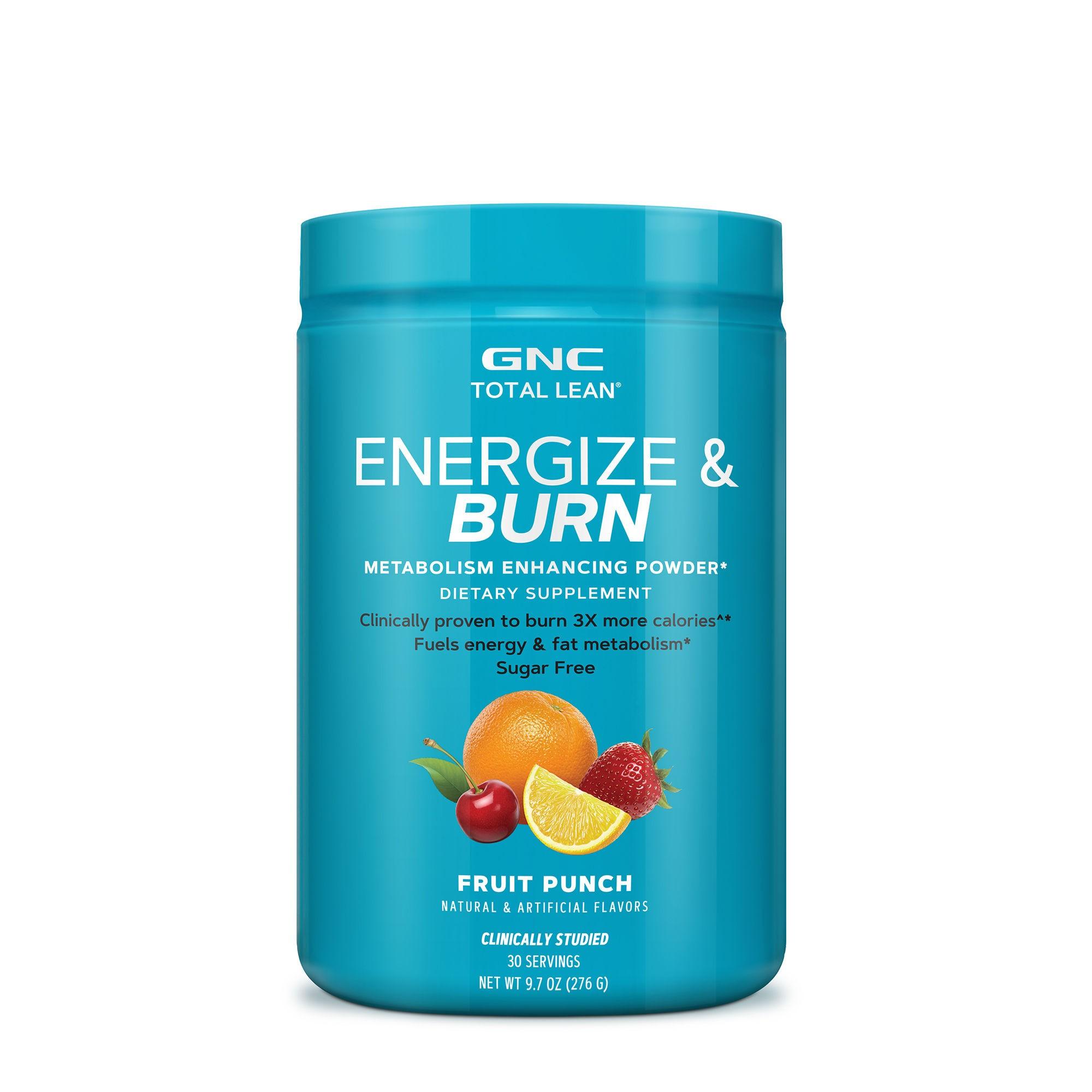 GNC Total Lean® Energize & Burn, Formula Pentru Accelerarea Metabolismului, cu Aroma de Punch de Fructe, 276g