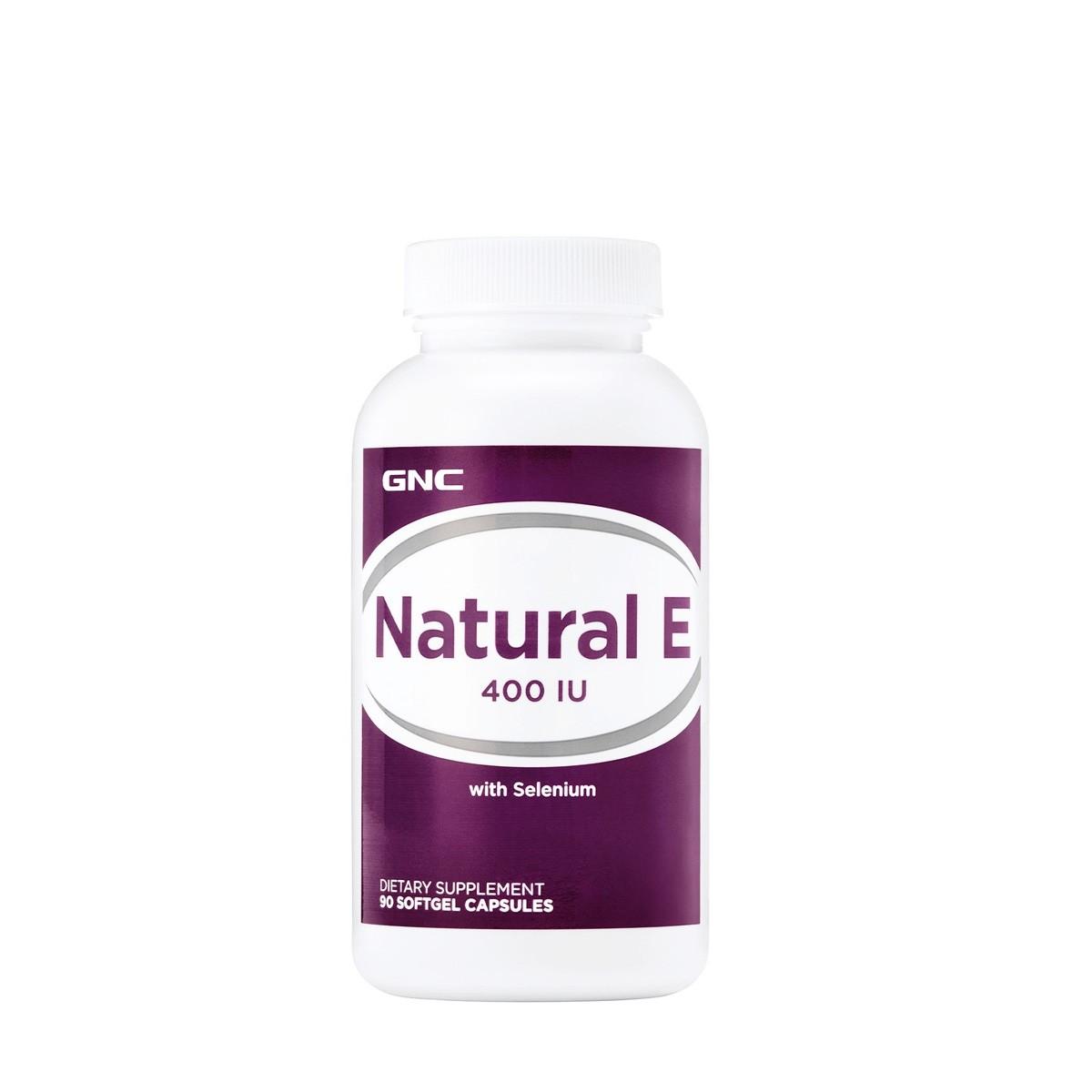 GNC Natural E, Vitamina E Naturala 400 UI cu Seleniu, 90 cps