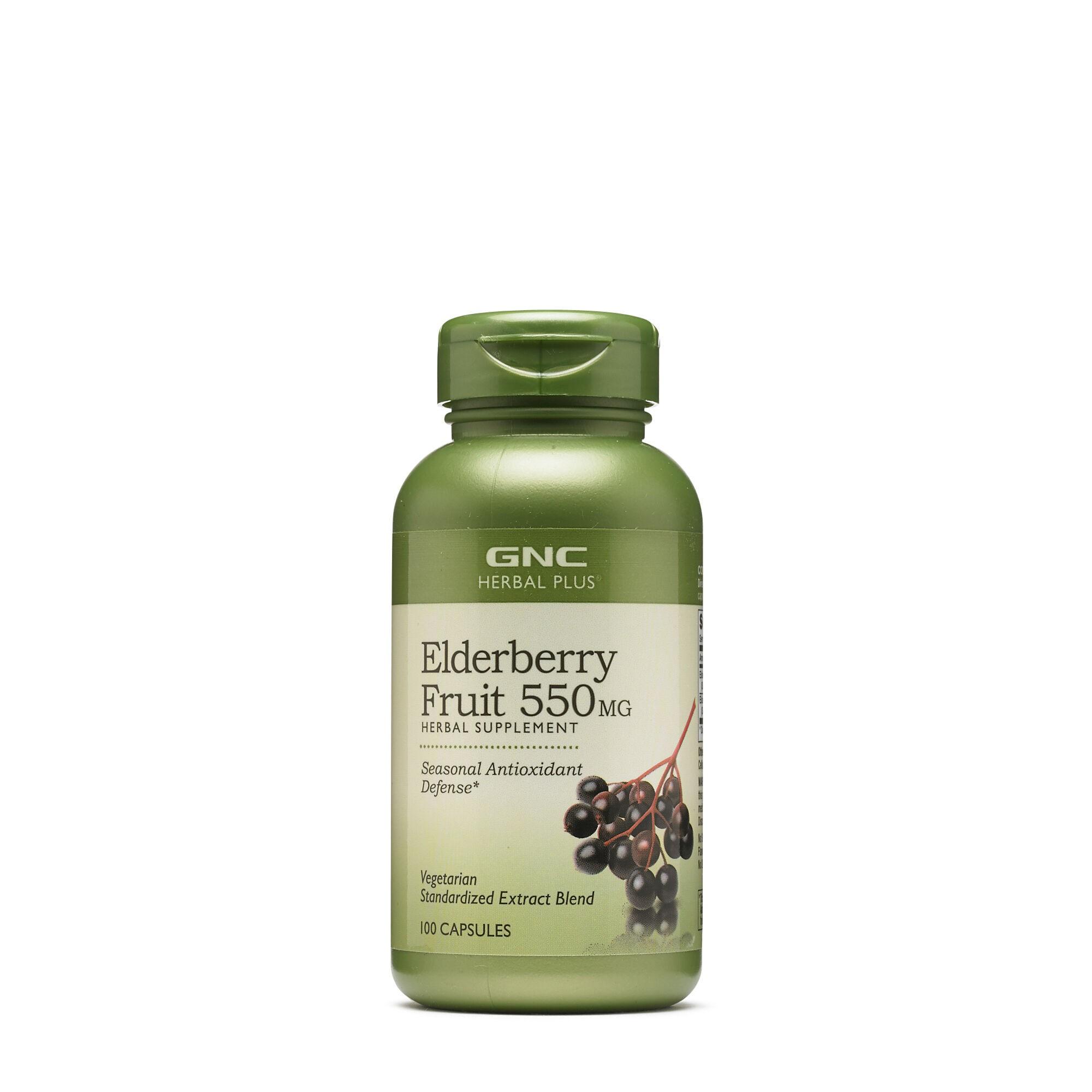 GNC Herbal Plus® Elderberry Fruit 550 mg, Extract Standardizat din Fructe de Soc, 100 cps