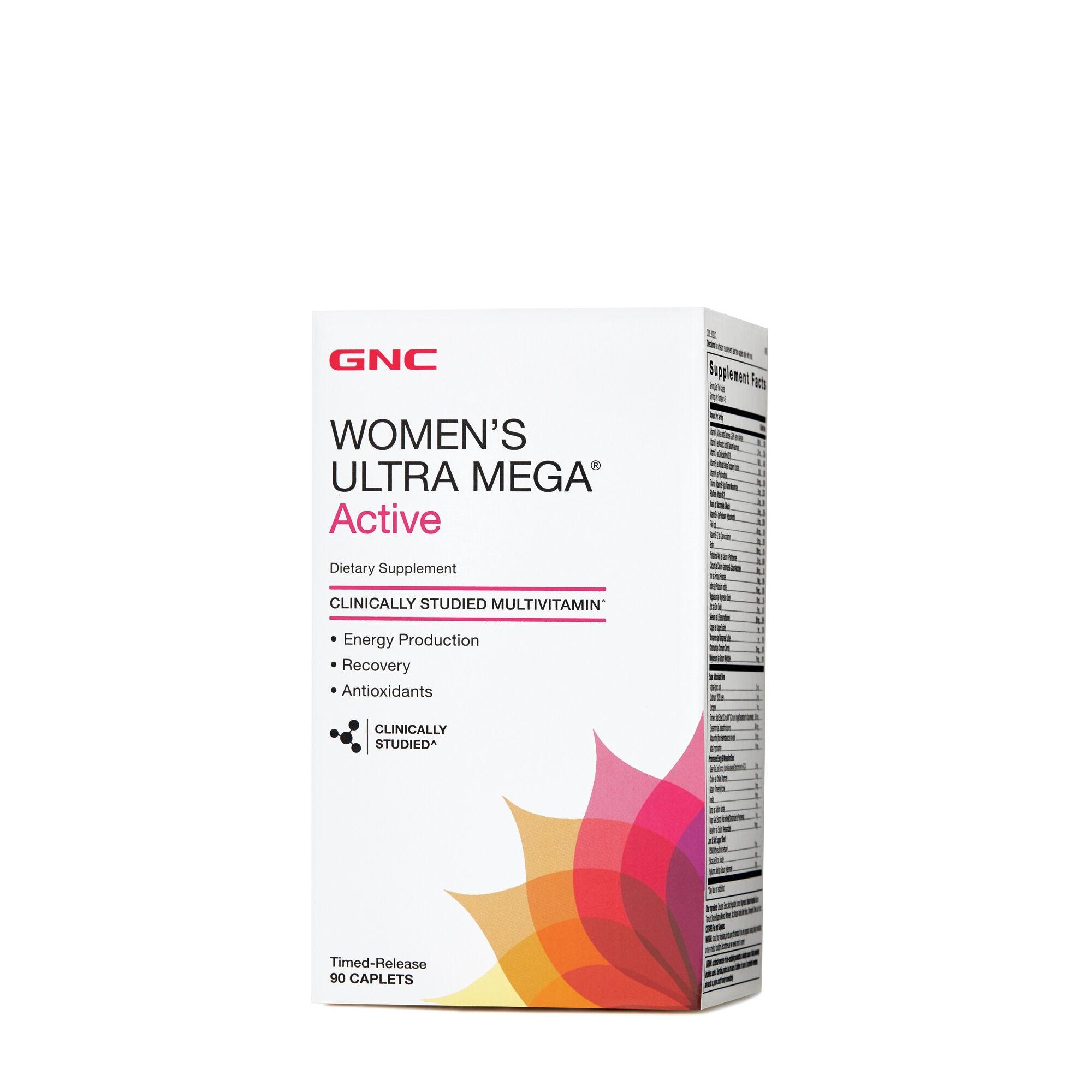 GNC Women's Ultra Mega® Active, Complex de Multivitamine Pentru Femei, 90 tb