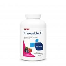 GNC Chewable C 500 mg, Vitamina C Masticabila, Aroma de Mix de Fructe 180 tb