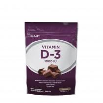 GNC Vitamin Soft Chews D-3 1000 IU, Vitamina D-3 1000 UI, cu Aroma de Ciocolata, 60 Caramele