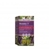 ResVitále® Beauty 3™, Formula pentru Par, Piele si Unghii cu Colagen, Keratina si Elastina, 90 cps
