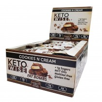 Keto Wise™ Fat Bombs Bomboane Invelite in Ciocolata cu Aroma de Biscuiti si Frisca, 34g