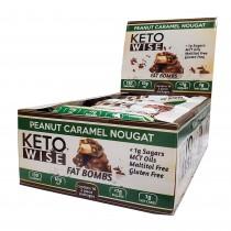 Keto Wise™ Fat Bombs, Bomboane Invelite in Ciocolata  cu Aroma de Arahide, Caramel si Nuga, 34 g