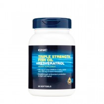 GNC Triple Strength Fish Oil + Resveratrol, Ulei de Peste si Resveratrol, 60 cps