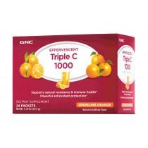 GNC Effervescent Triple C 1000, Vitamina C 1000 mg Efervescenta, cu Aroma de Portocale, 24 Plicuri