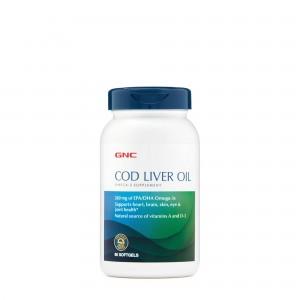 GNC Cod Liver Oil, Ulei Triplu din Ficat de Cod, 90 cps