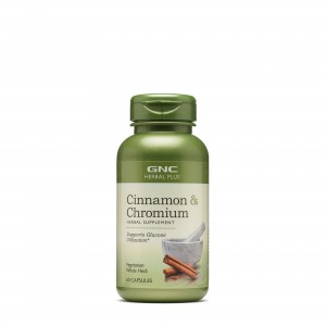 GNC Herbal Plus® Cinnamon & Chromium, Extract Standardizat de Scortisoara si Crom, 60 cps